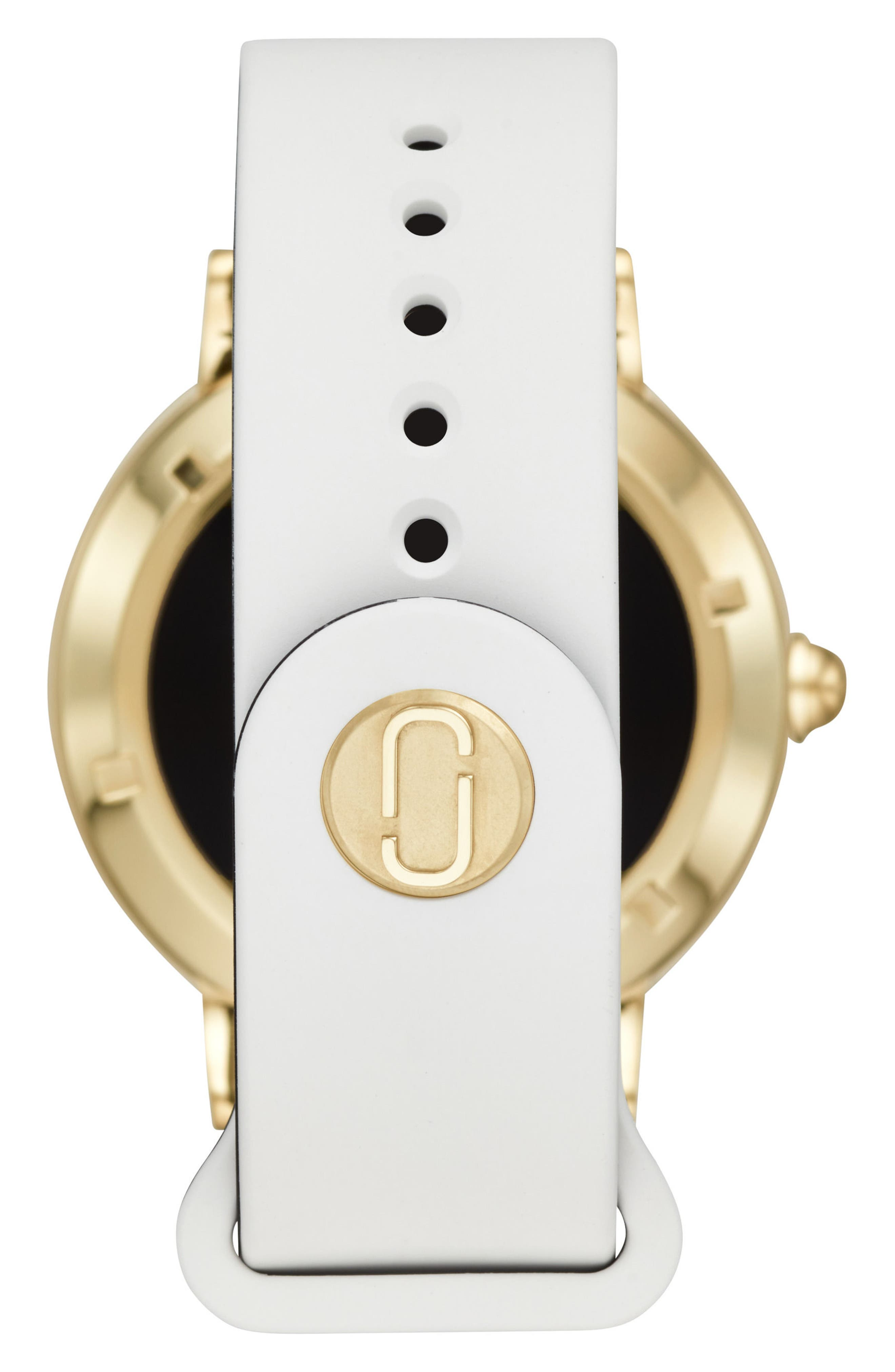Riley Silcone Strap Smart Watch, 44mm,                             Alternate thumbnail 2, color,                             WHITE/ GOLD