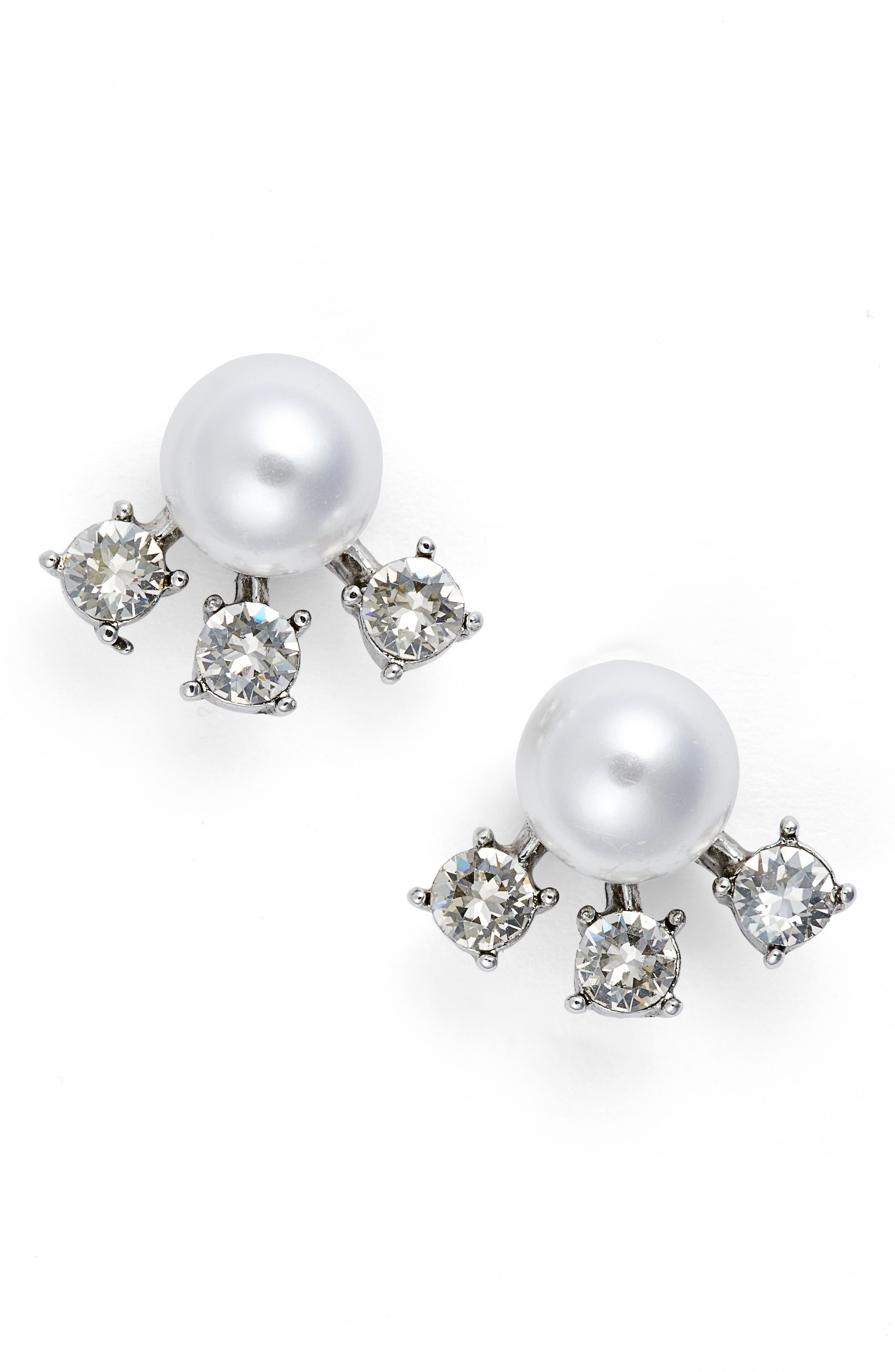 Simulated Pearl & Crystal Ear Jackets,                         Main,                         color,
