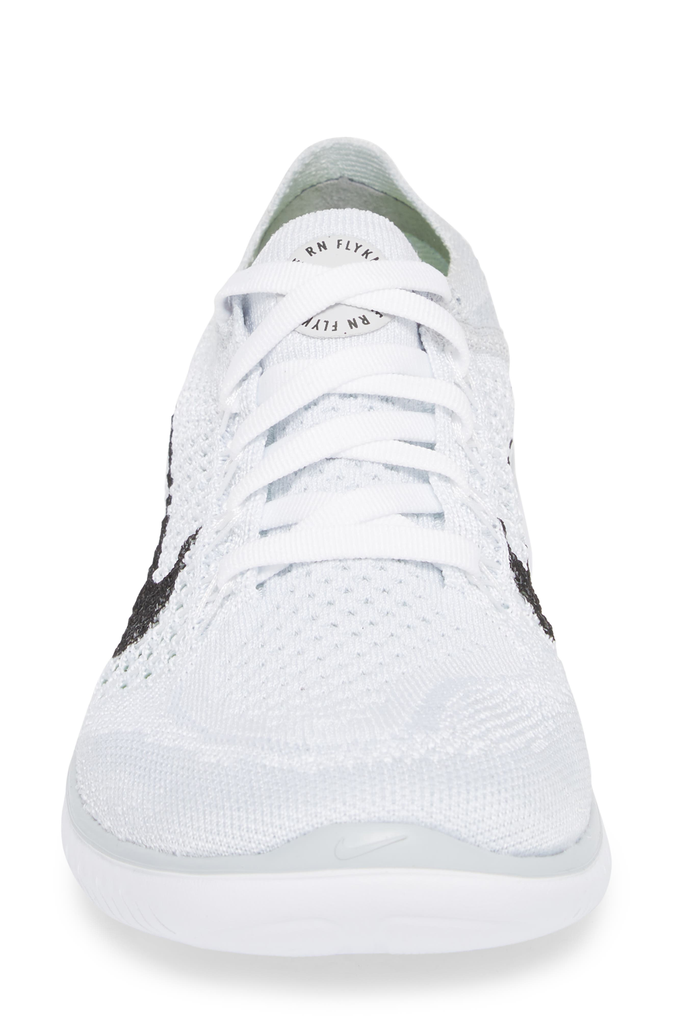 Free RN Flyknit 2018 Running Shoe,                             Alternate thumbnail 4, color,                             WHITE/ BLACK/ PURE PLATINUM