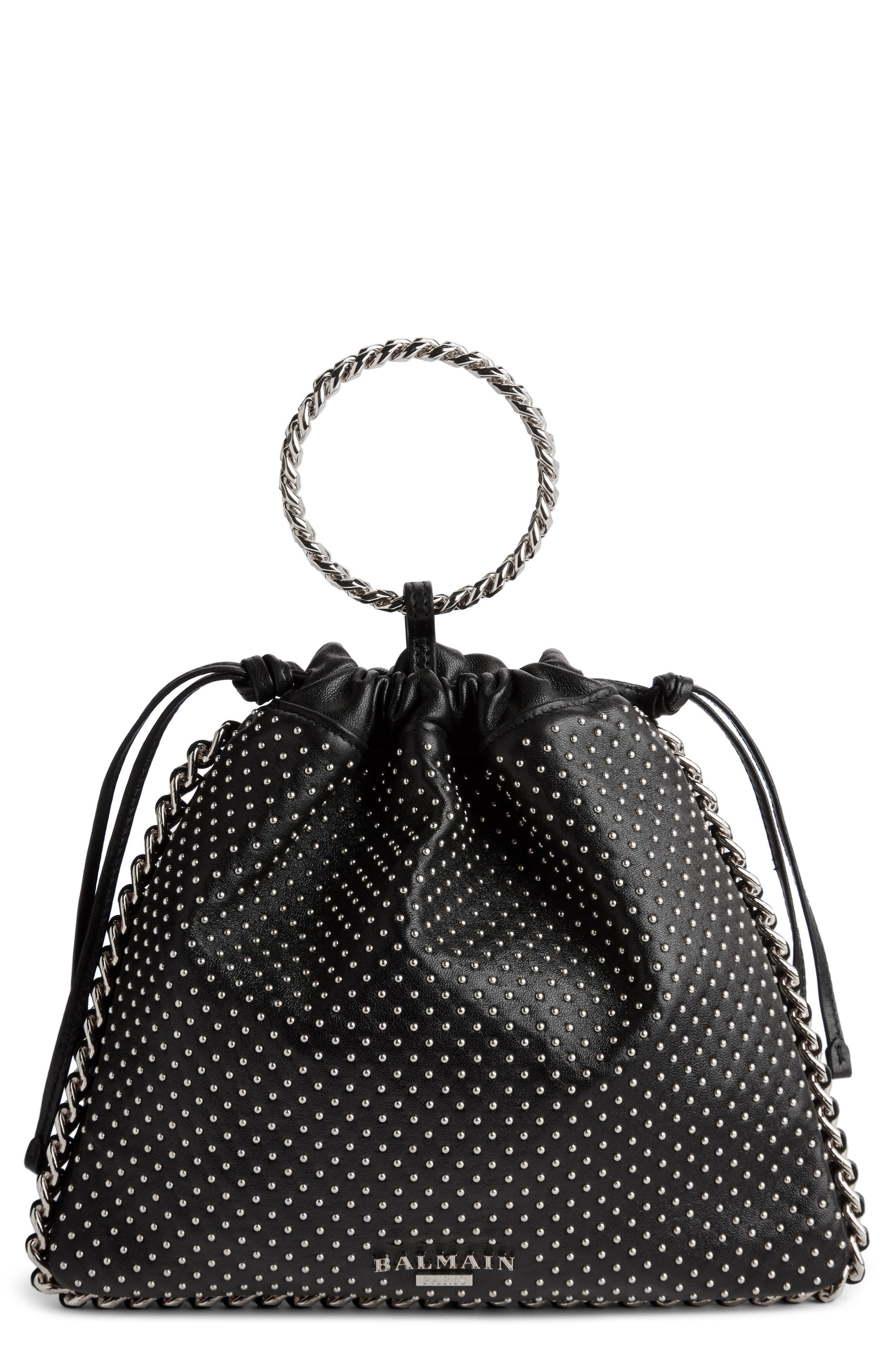 Studded Leather Bracelet Backpack,                             Main thumbnail 1, color,                             NOIR