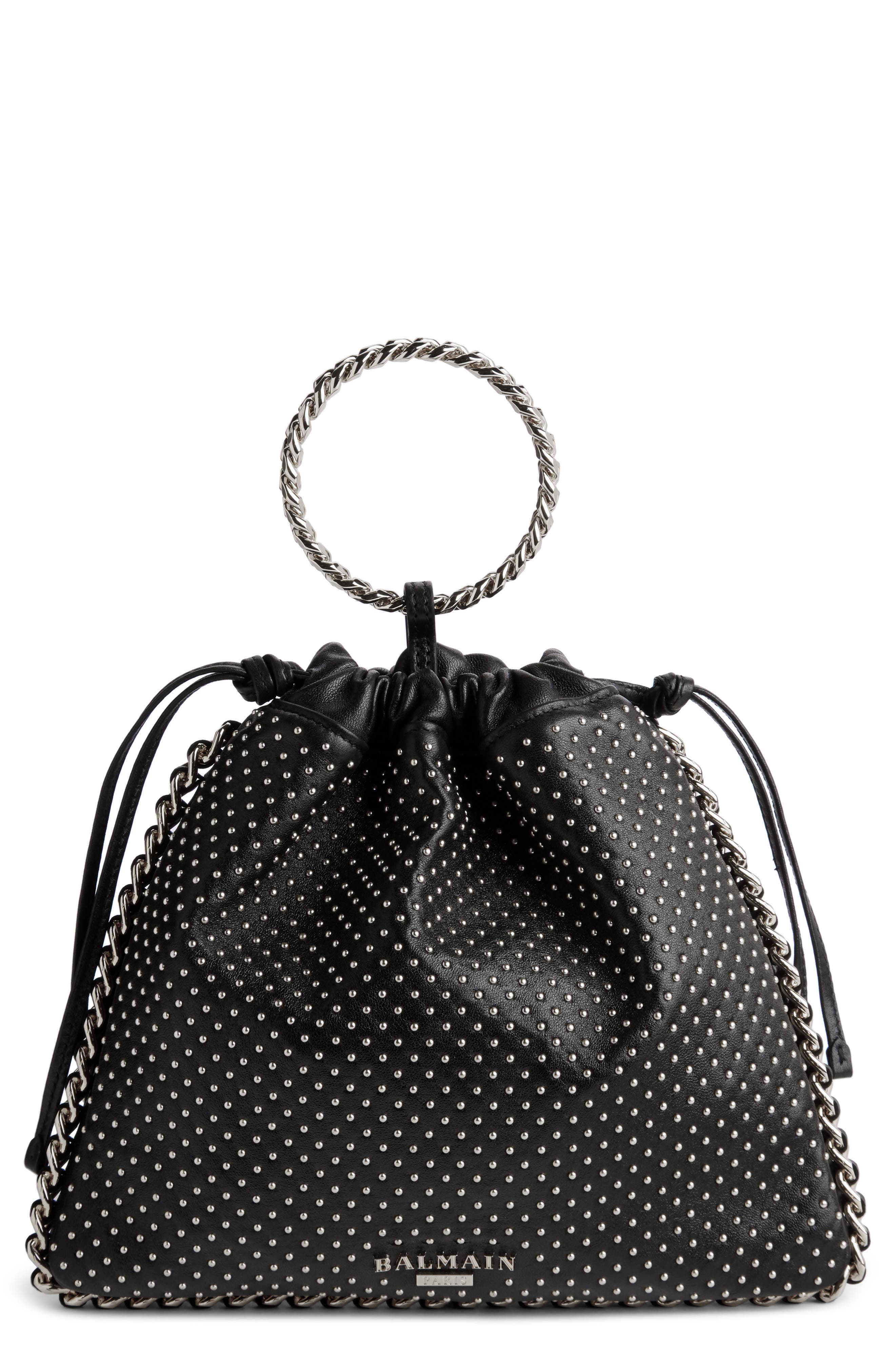 Studded Leather Bracelet Backpack,                         Main,                         color, NOIR