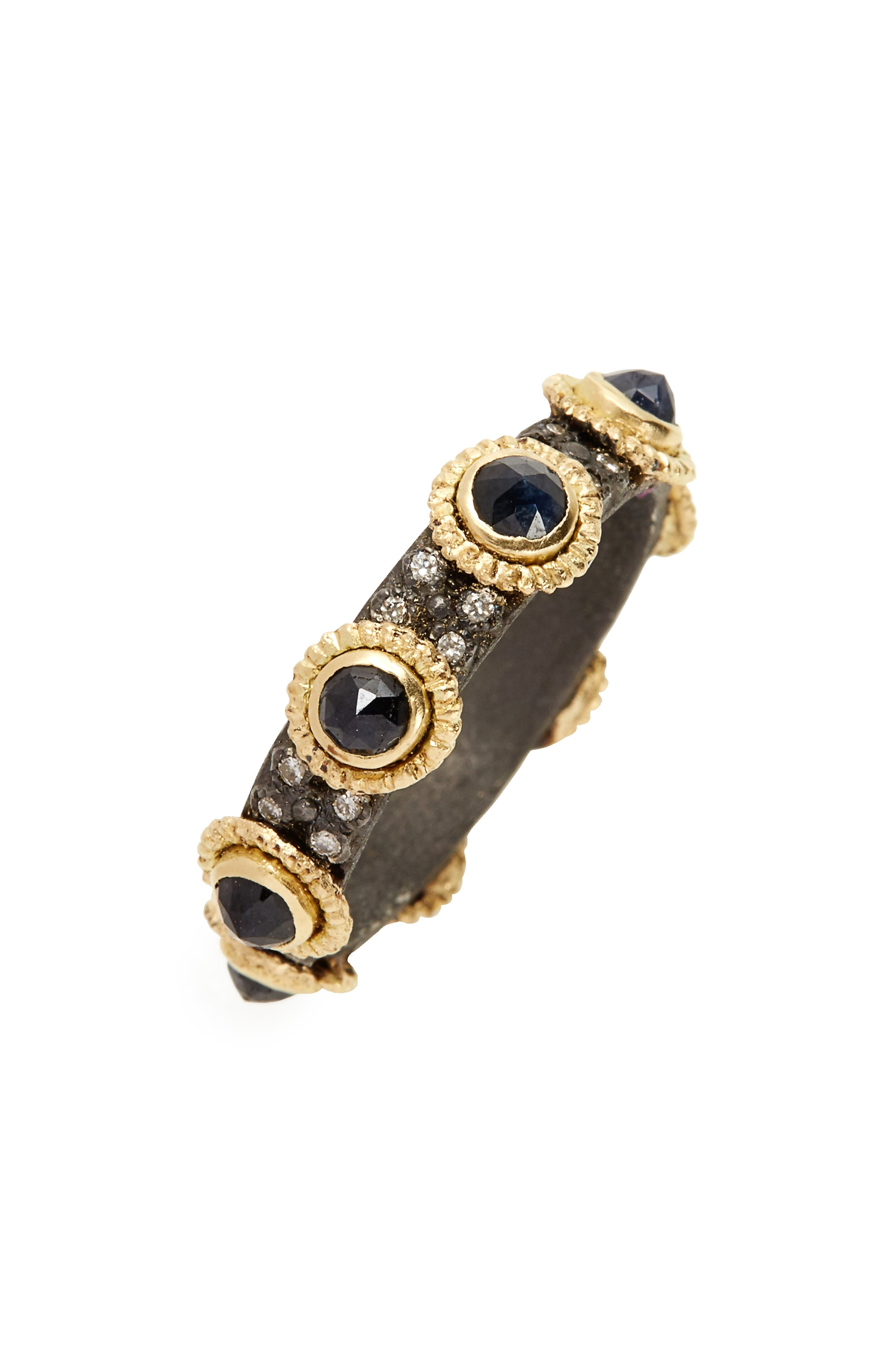 Old World Sapphire & Diamond Stacking Ring,                             Main thumbnail 1, color,                             GOLD