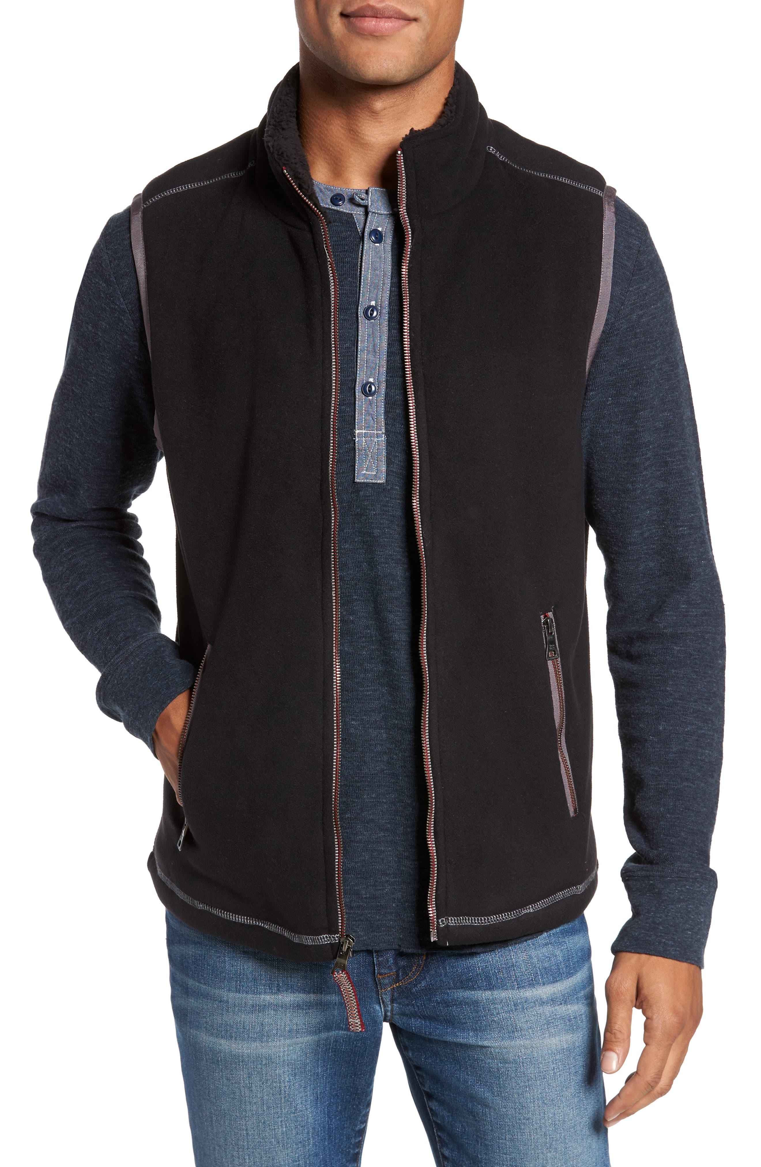 Bonded Fleece Zip Front Vest,                         Main,                         color, 001