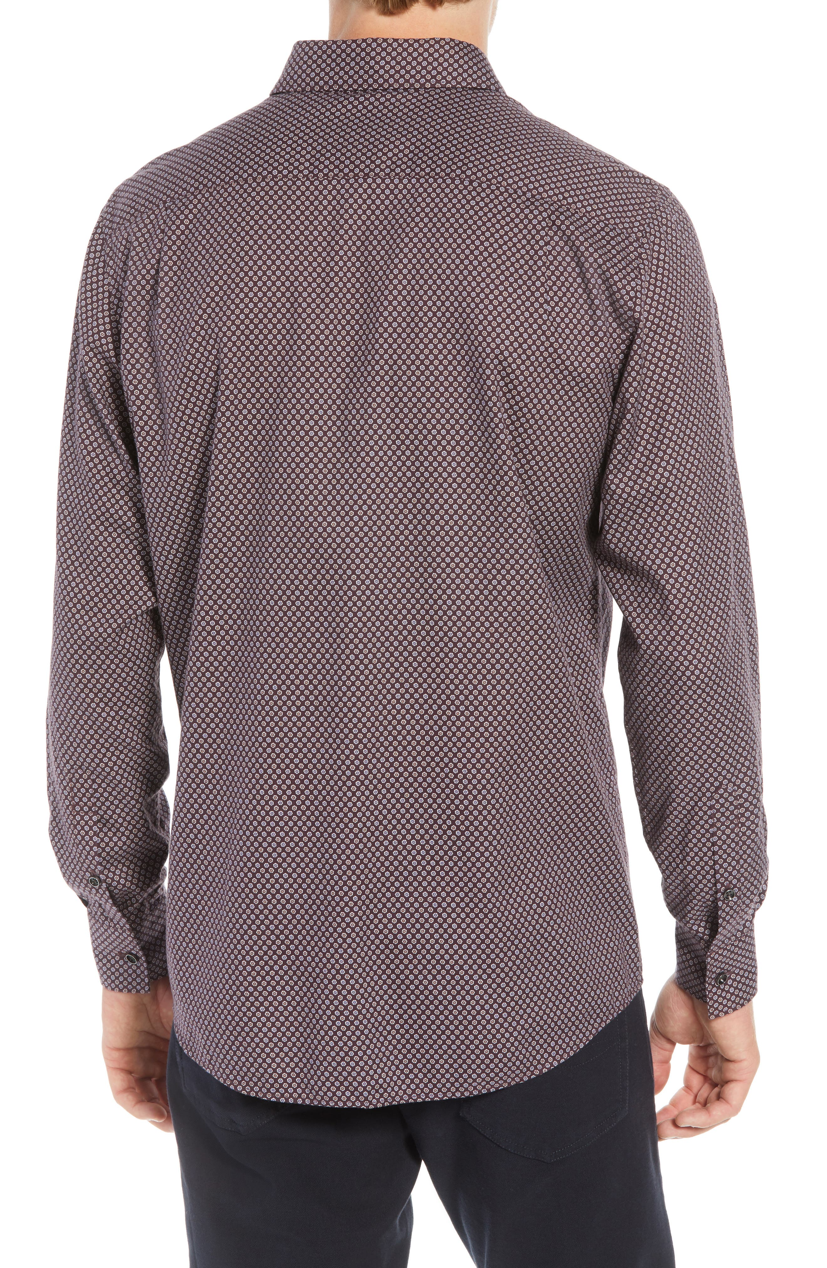 Marsden Bay Regular Fit Sport Shirt,                             Alternate thumbnail 3, color,                             BORDEAUX