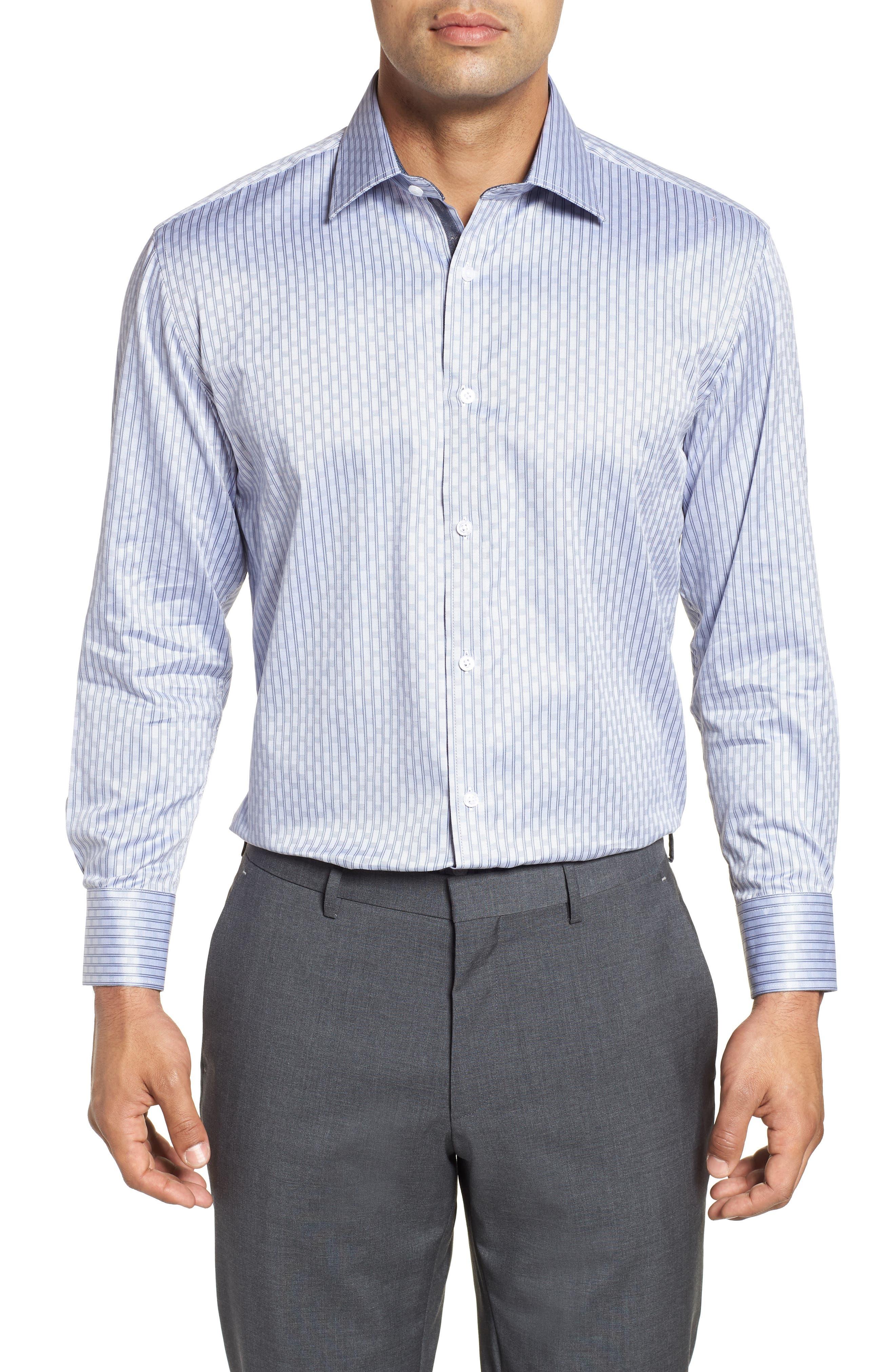 Regular Fit Check Dress Shirt,                         Main,                         color, GREY