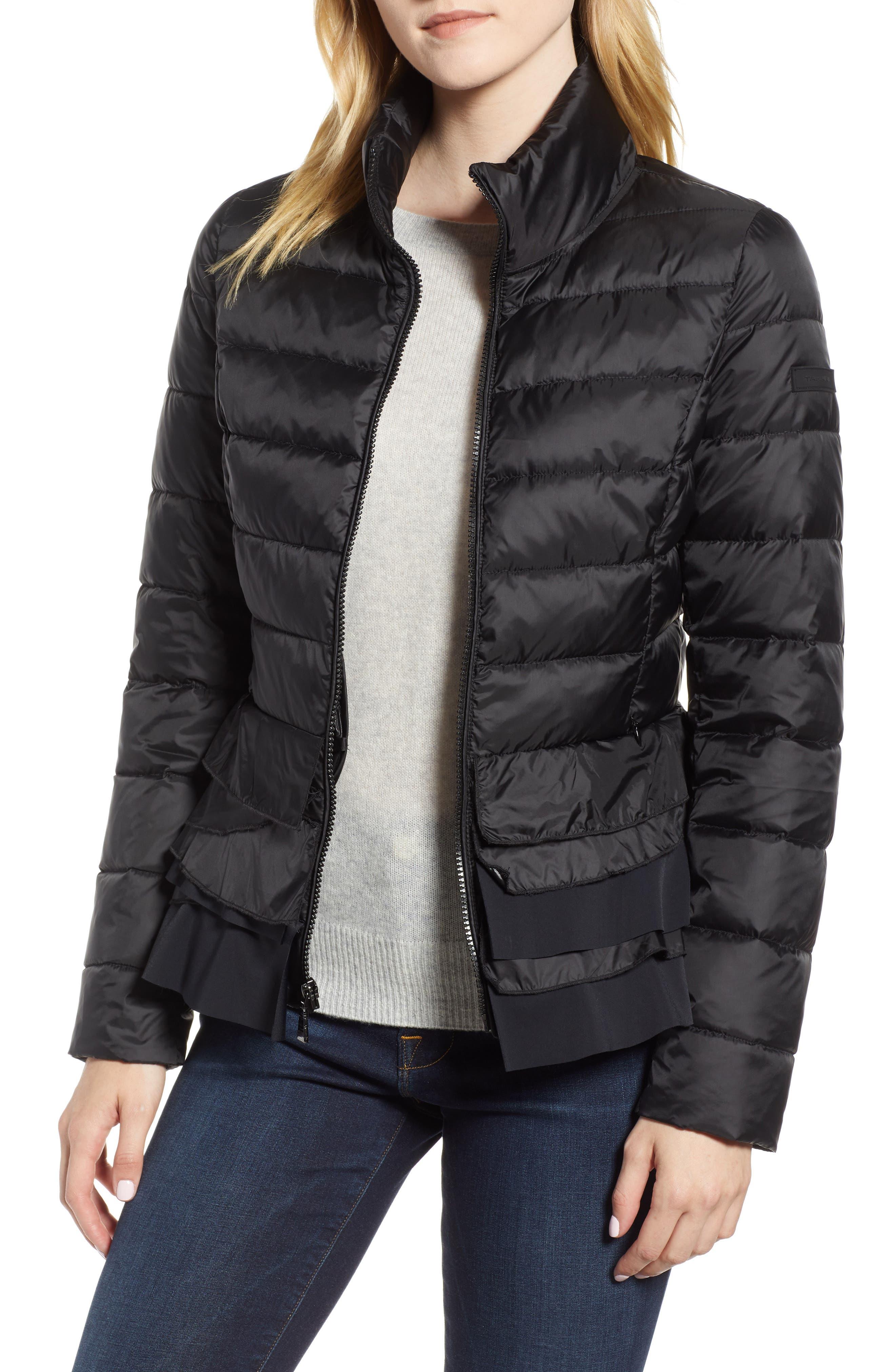 Zoey Ruffle Hem Puffer Jacket,                         Main,                         color, BLACK