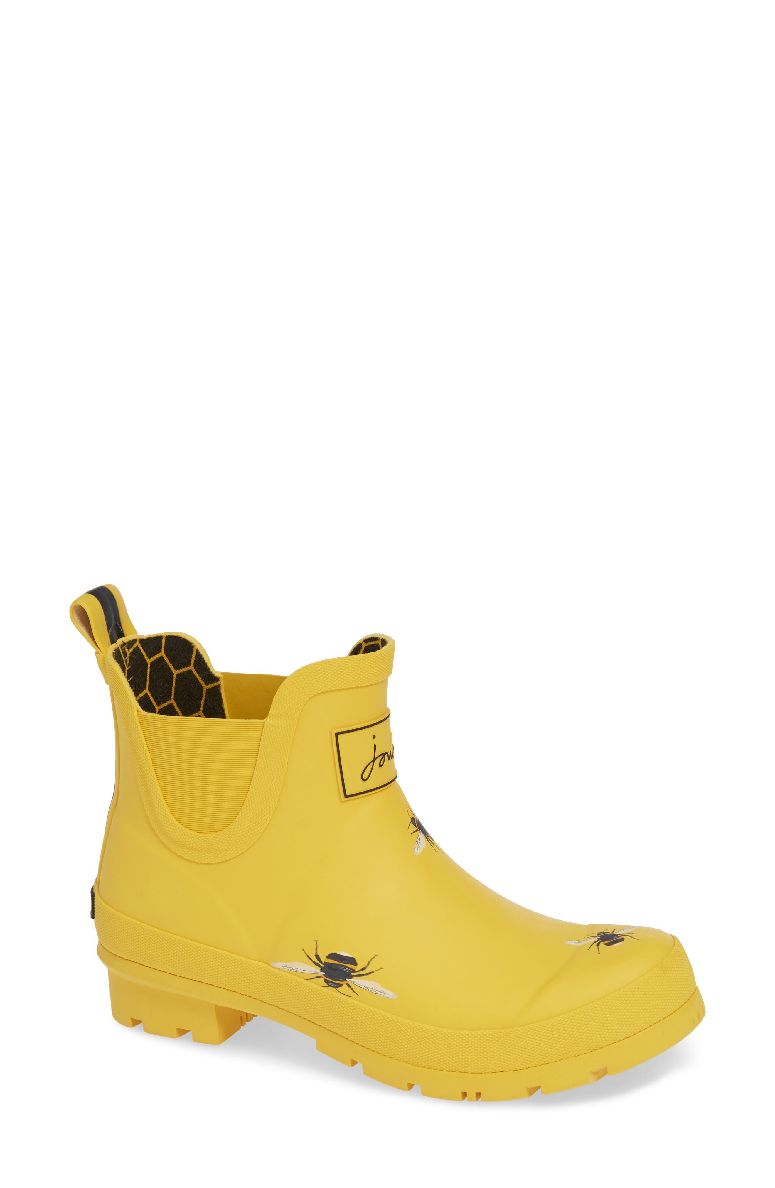 Wellibob Short Rain Boot,                             Main thumbnail 1, color,                             GOLD BOTANICAL BEES
