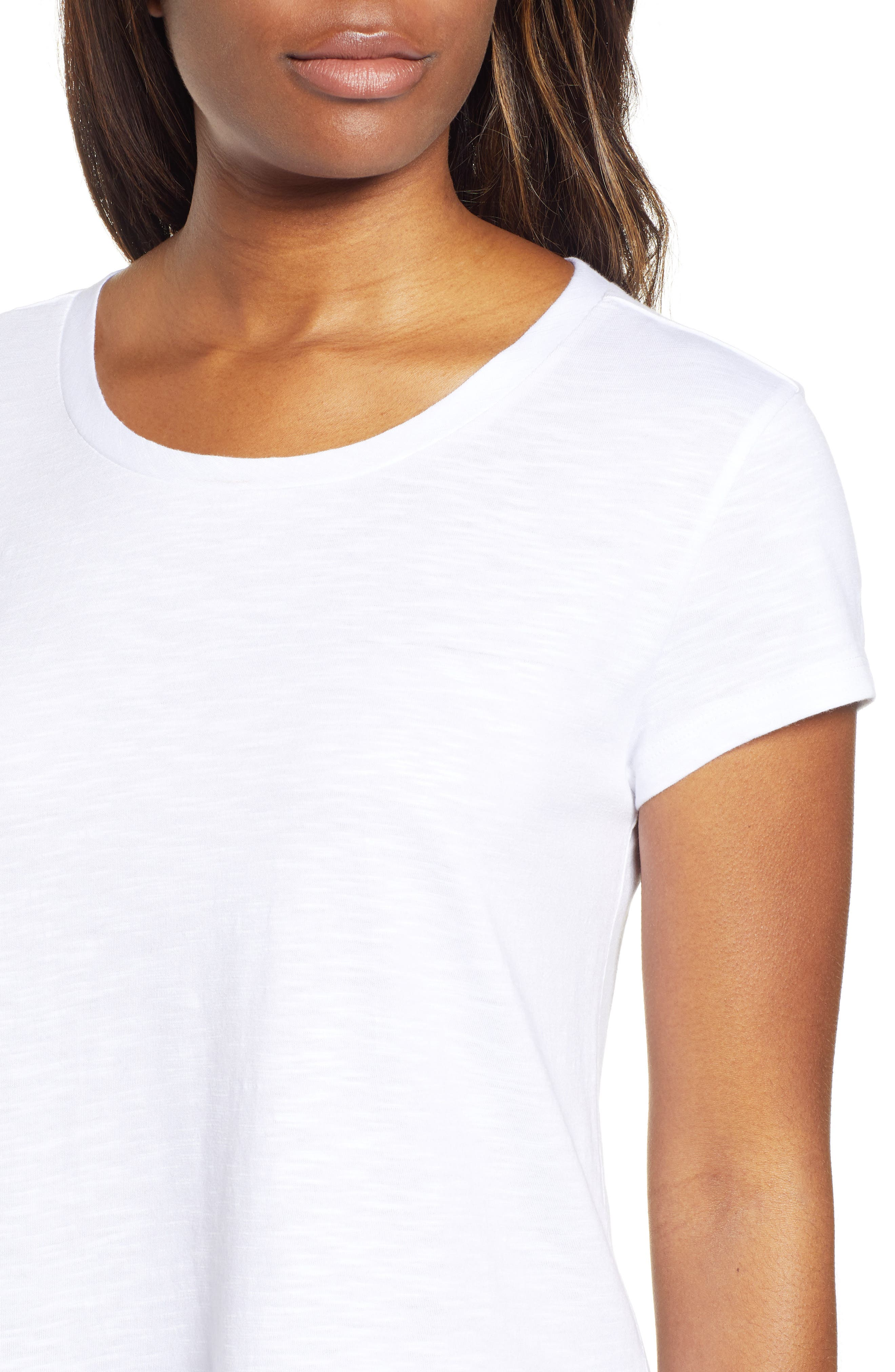 CASLON<SUP>®</SUP>,                             Tiered Short Sleeve Tee,                             Alternate thumbnail 4, color,                             WHITE