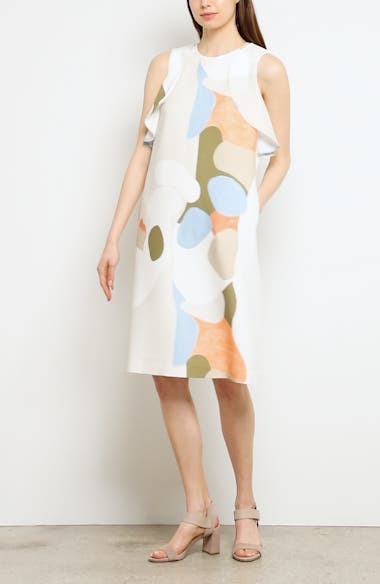 Landscape Expression Print Ruffle Dress, video thumbnail