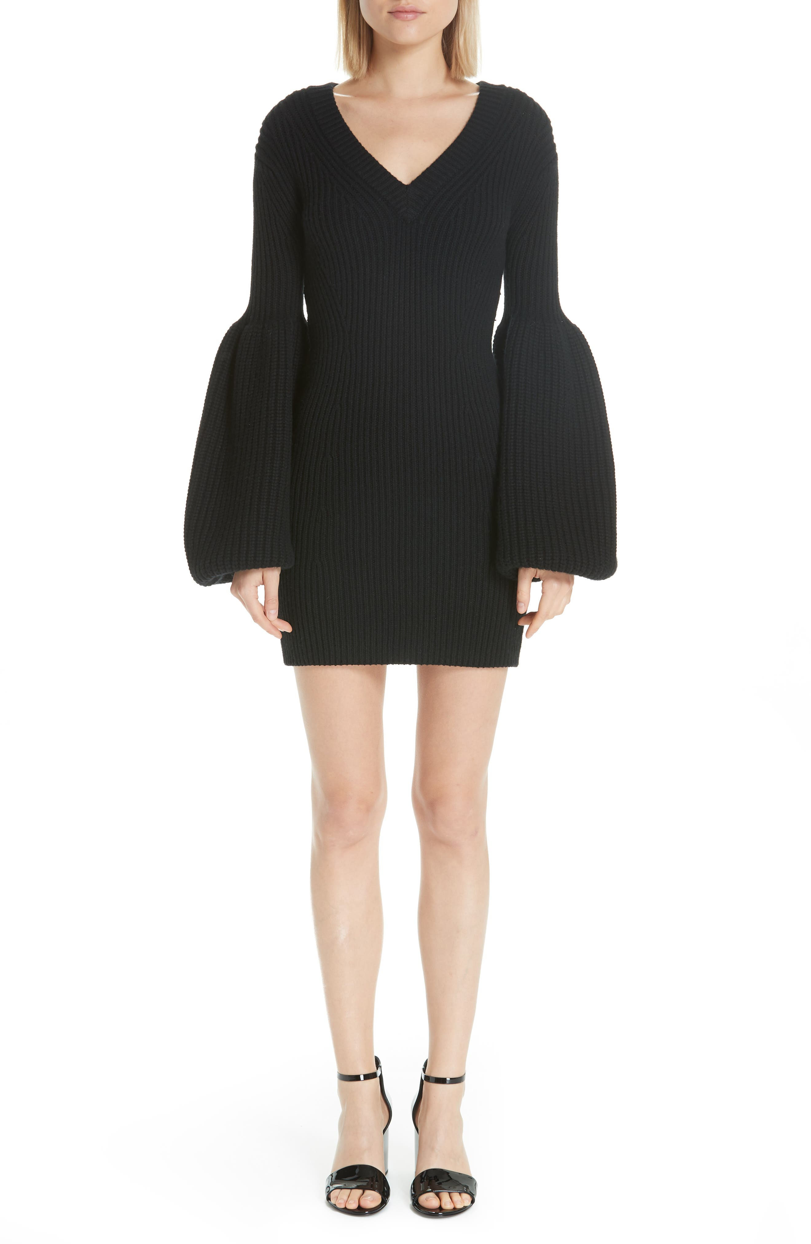 Alexander Wang Puff Sleeve Sweater Dress, Black