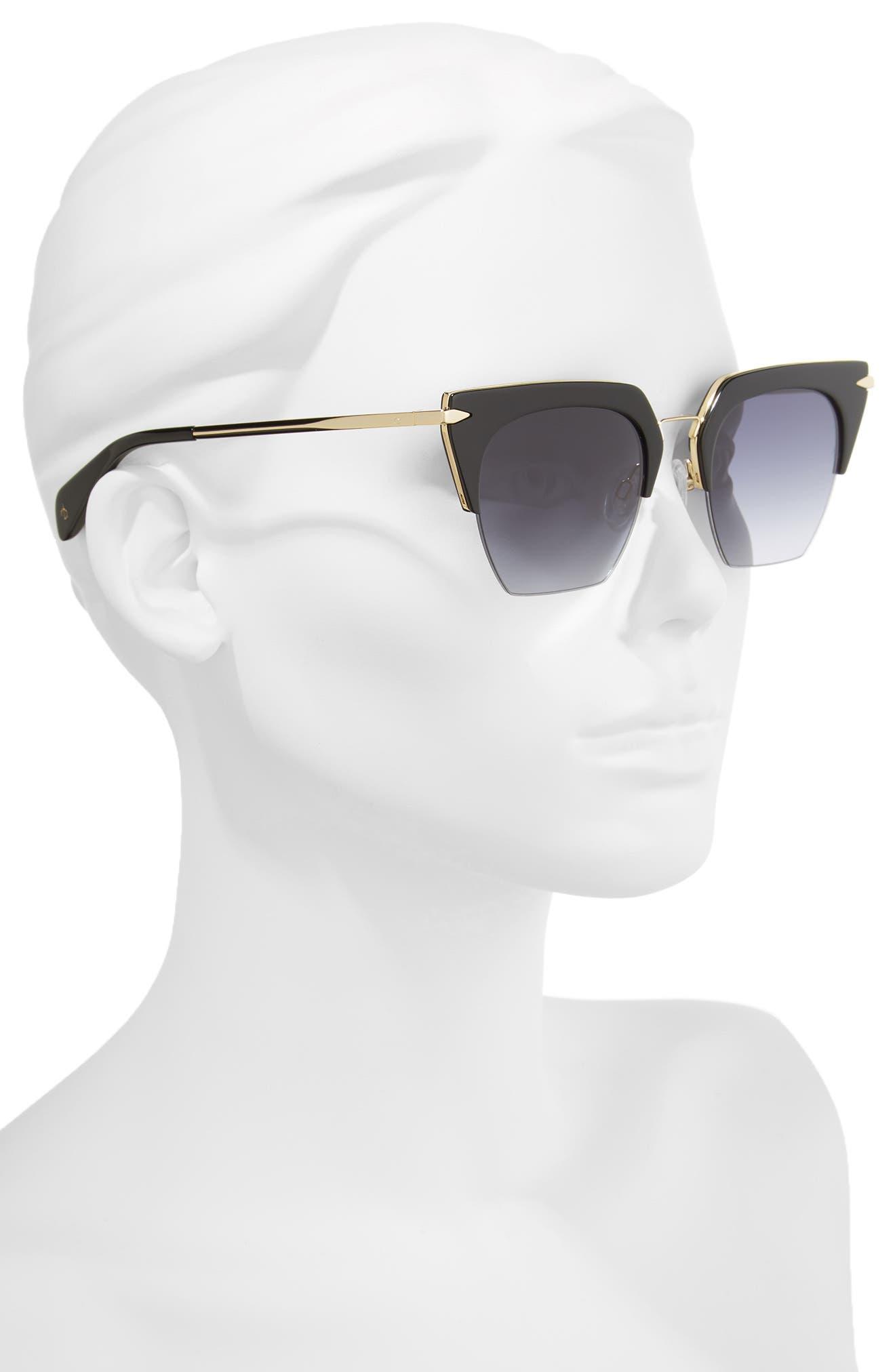 51mm Cat Eye Sunglasses,                             Alternate thumbnail 2, color,                             BLACK/ GOLD