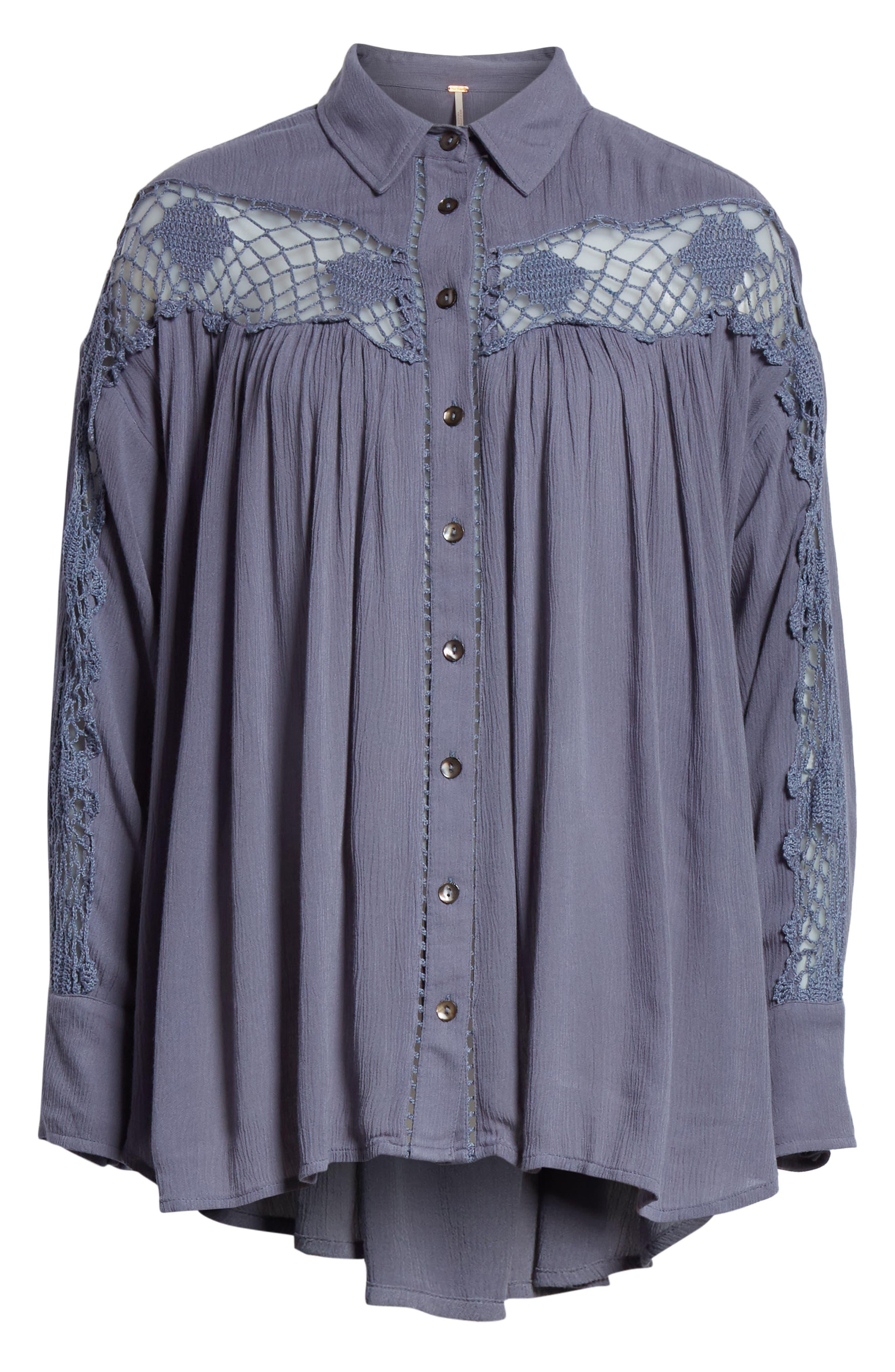 Katie Bird Crochet Inset Shirt,                             Alternate thumbnail 23, color,