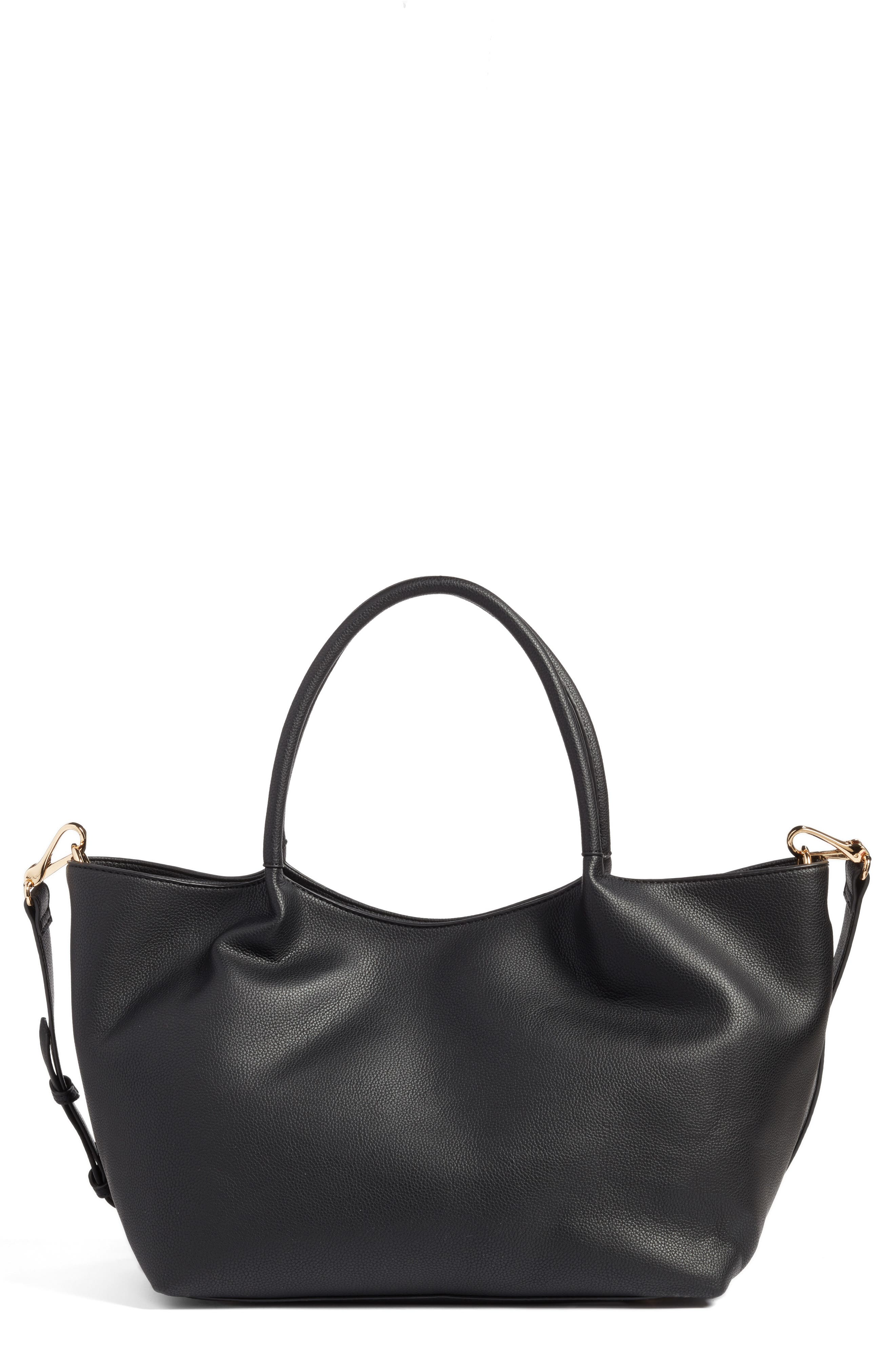Cindy Faux Leather Convertible Tote,                         Main,                         color, 001