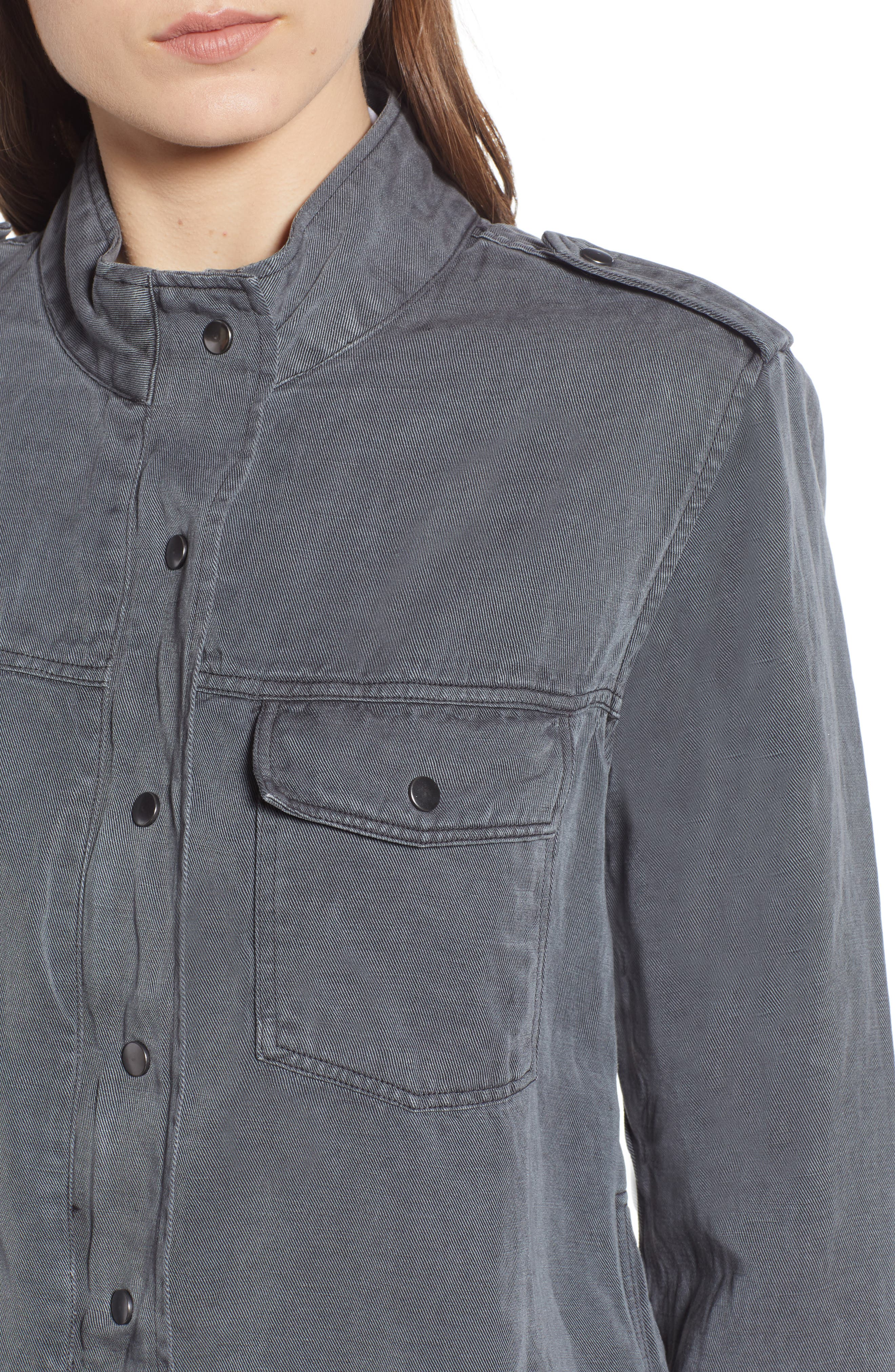Collins Military Jacket,                             Alternate thumbnail 4, color,                             LIGHT CHARCOAL