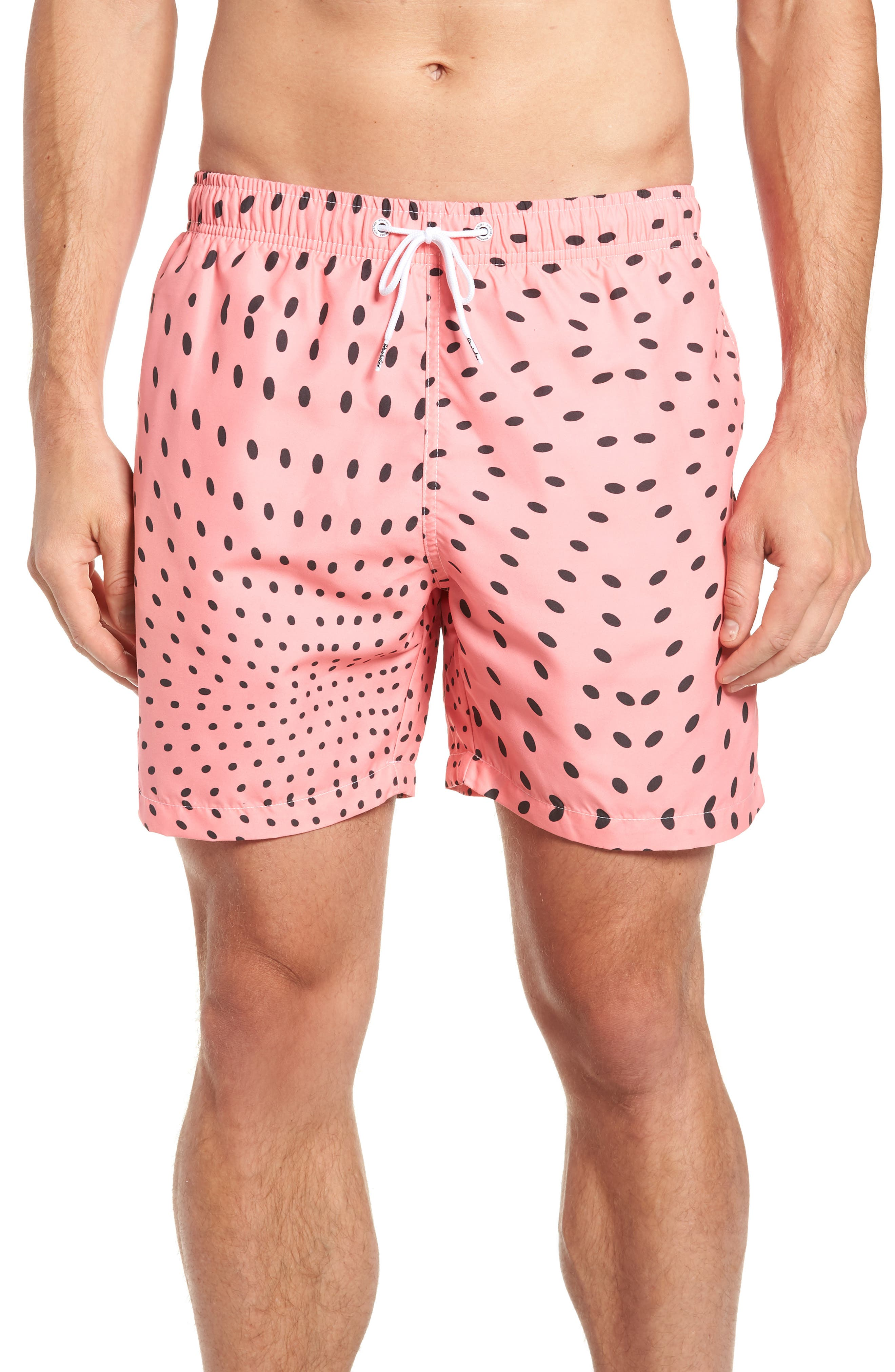 Watermelon Seeds Swim Trunks,                             Main thumbnail 1, color,                             RED