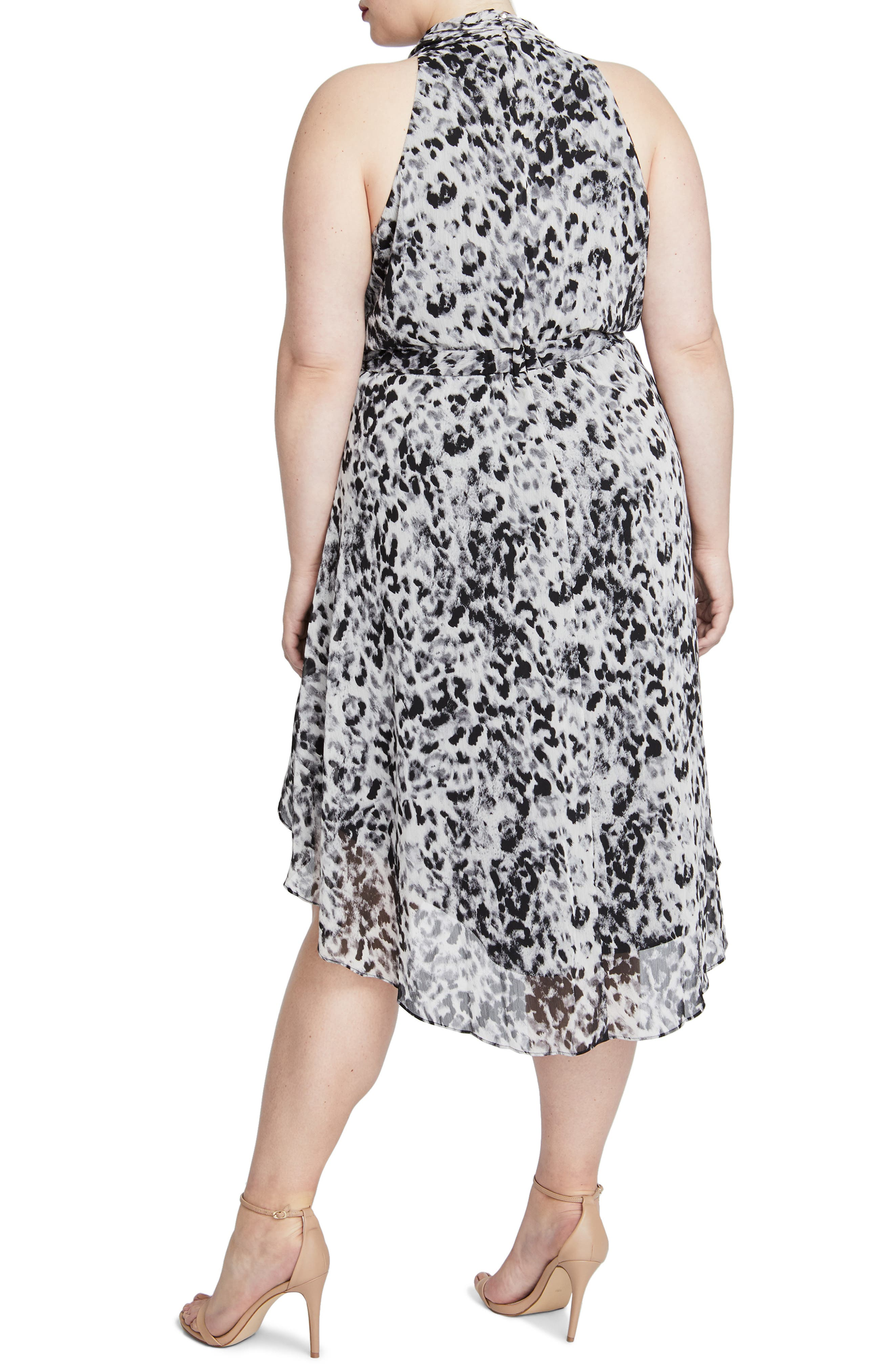 Chiffon Midi Dress,                             Alternate thumbnail 2, color,                             IVORY COMBO