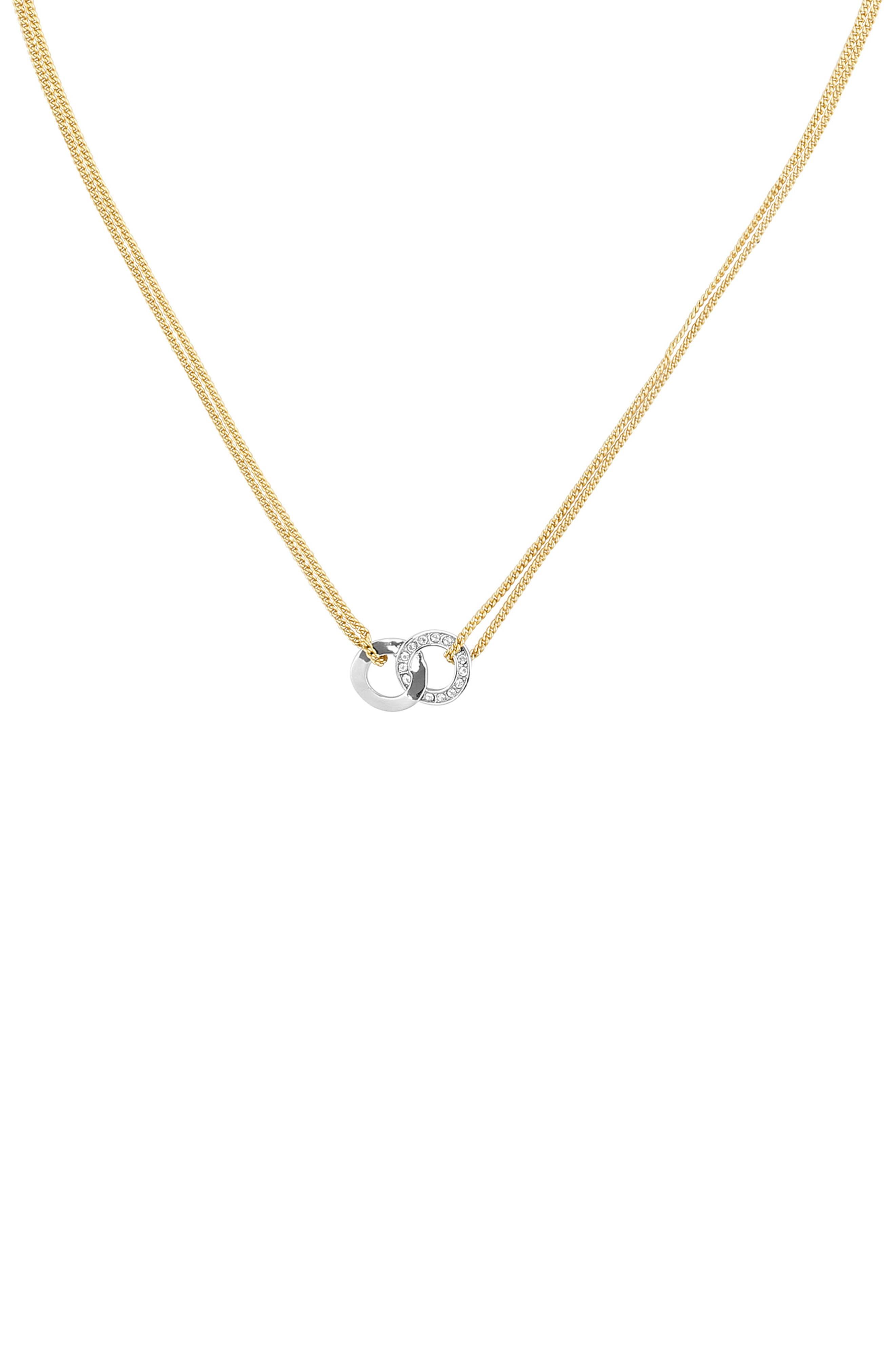 ADORE,                             Interlocking Ring Necklace,                             Main thumbnail 1, color,                             GOLD/ SILVER