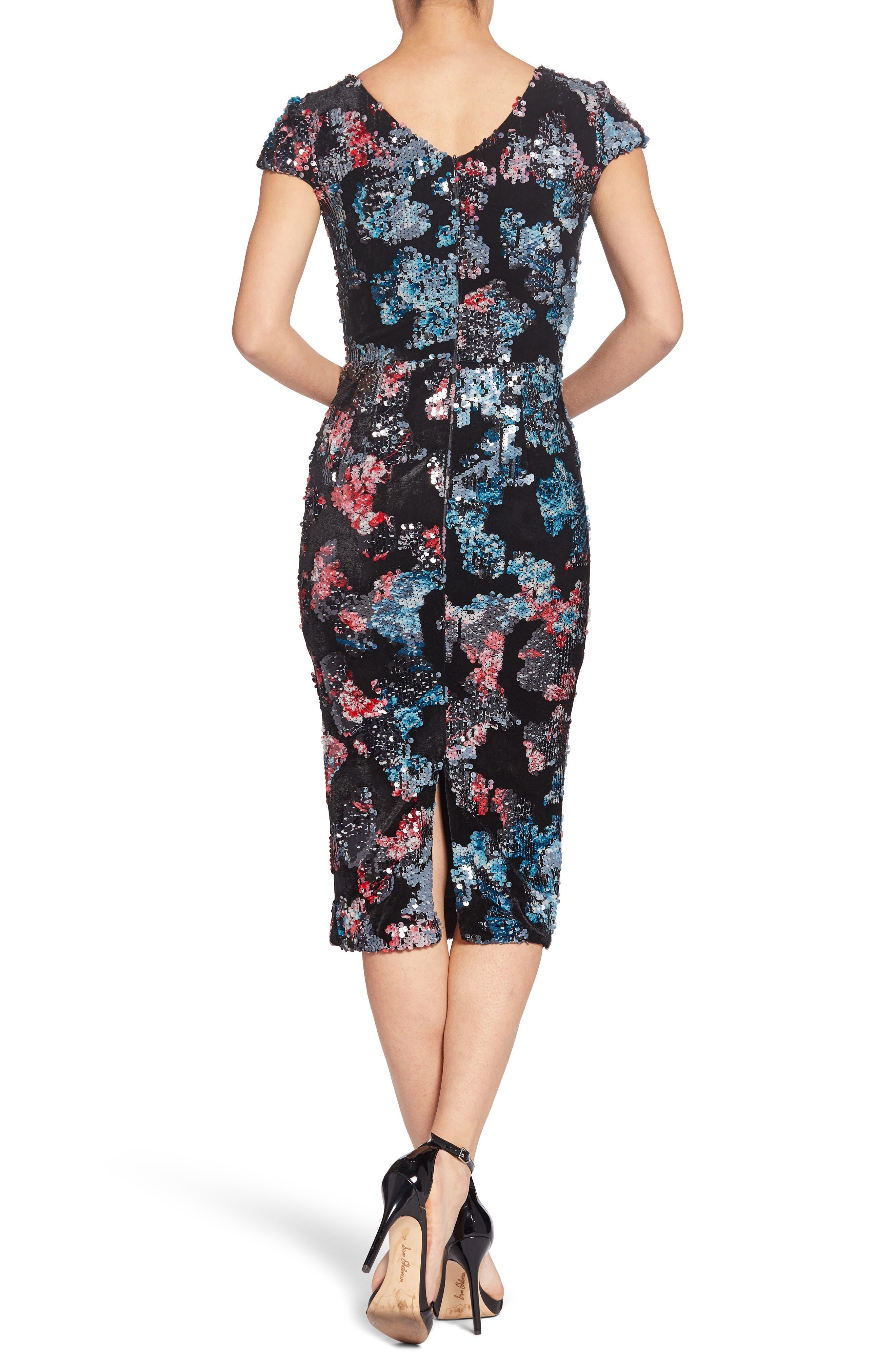 Allison Embellished Sheath Dress,                             Alternate thumbnail 2, color,                             BLACK MULTI