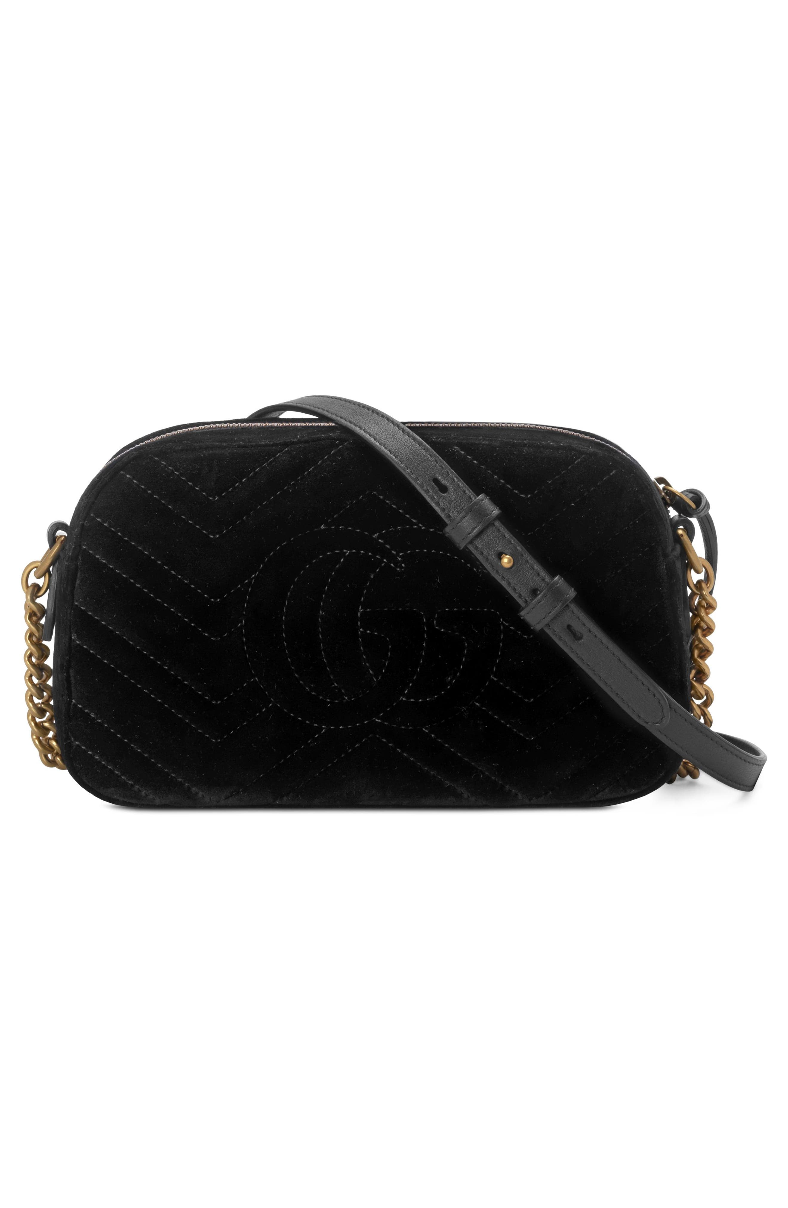 Small GG Marmont 2.0 Crystal Stars Velvet Shoulder Bag,                             Alternate thumbnail 2, color,                             NERO/ NERO MULTI