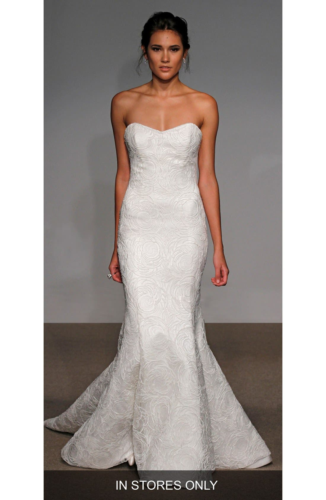 Alberta Strapless French Lace Trumpet Gown,                         Main,                         color, SOFT WHITE/WHITE