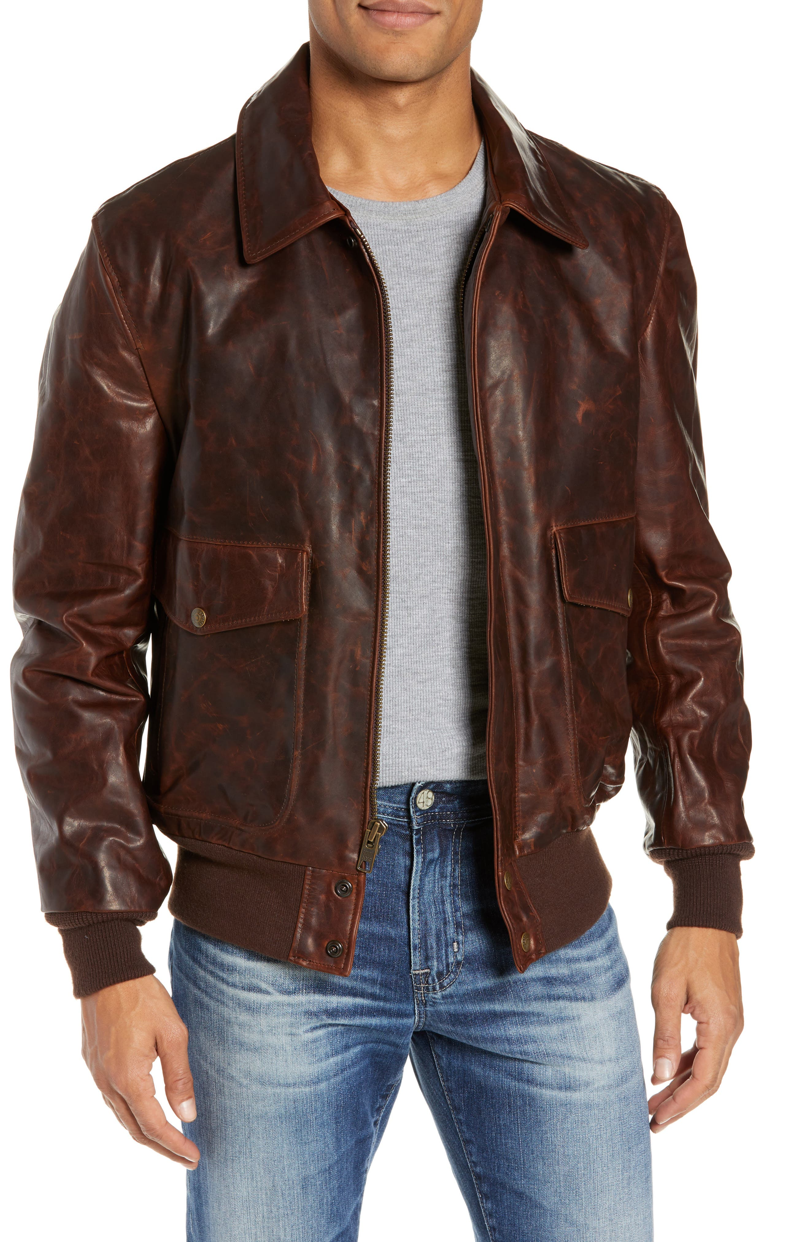 Vintage Oiled Cowhide Leather Flight Jacket, Main, color, 200