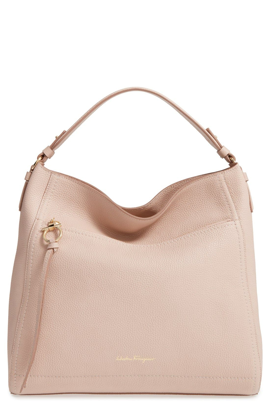Calfskin Leather Hobo,                         Main,                         color, 250