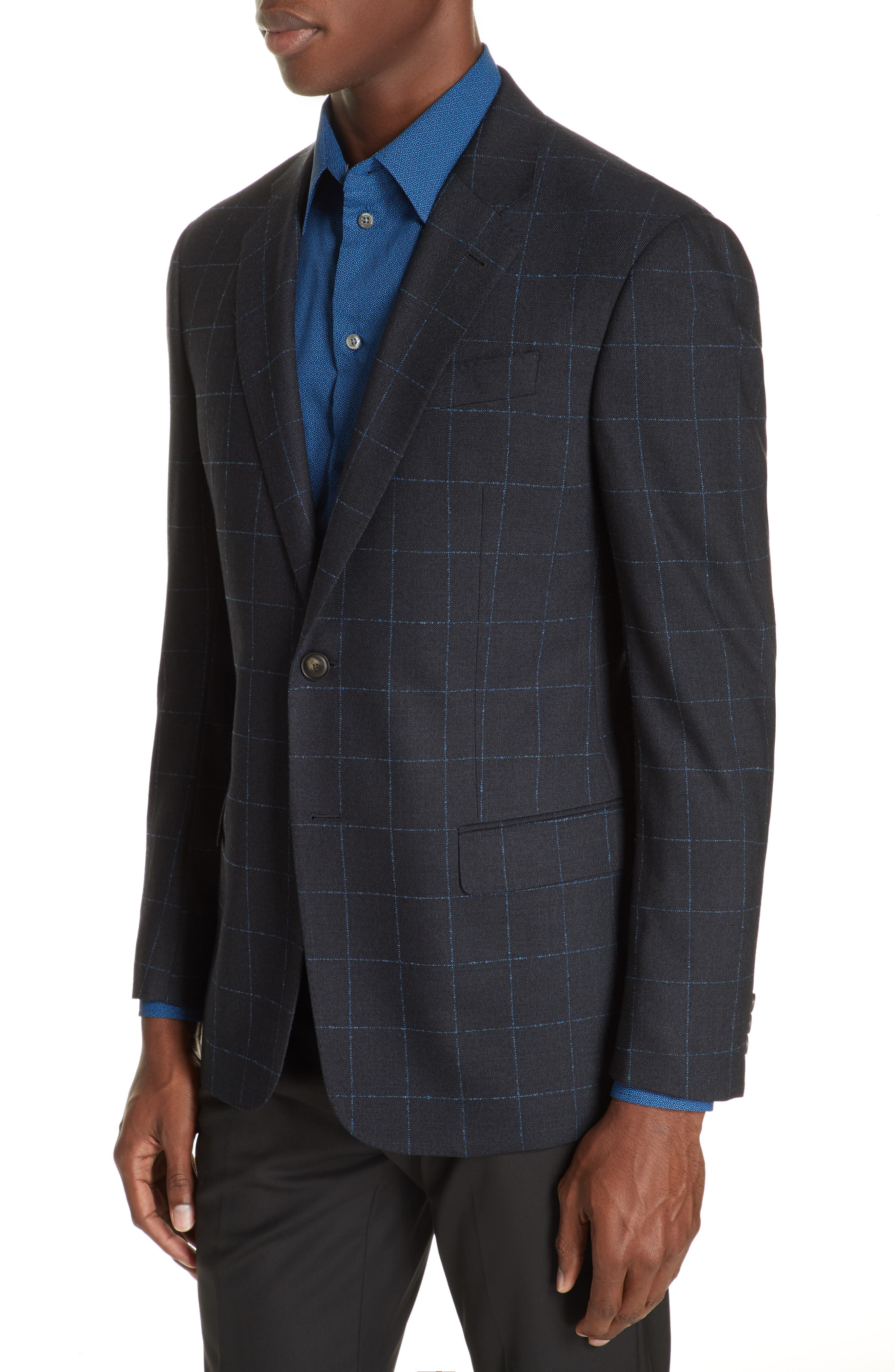 G-Line Trim Fit Stretch Windowpane Sport Coat,                             Alternate thumbnail 4, color,                             NAVY