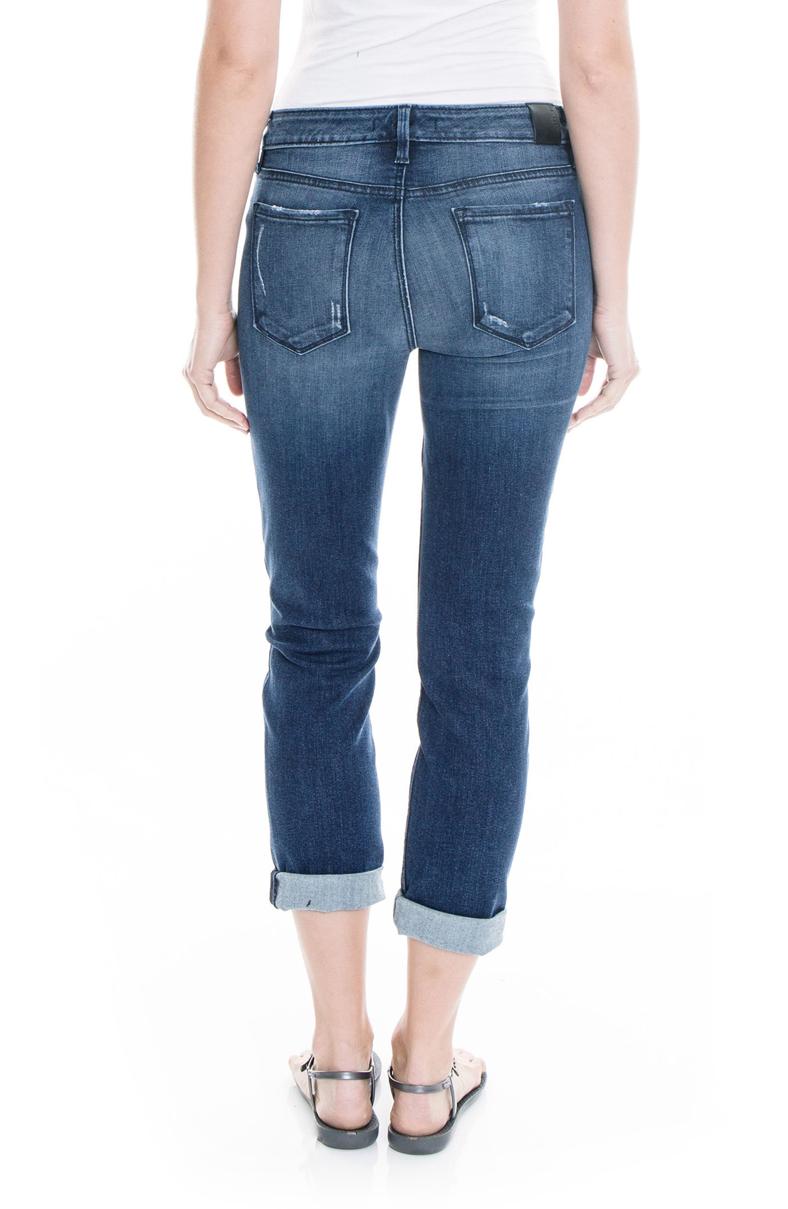 Lily Stretch Distressed Crop Cuff Jeans,                             Alternate thumbnail 4, color,