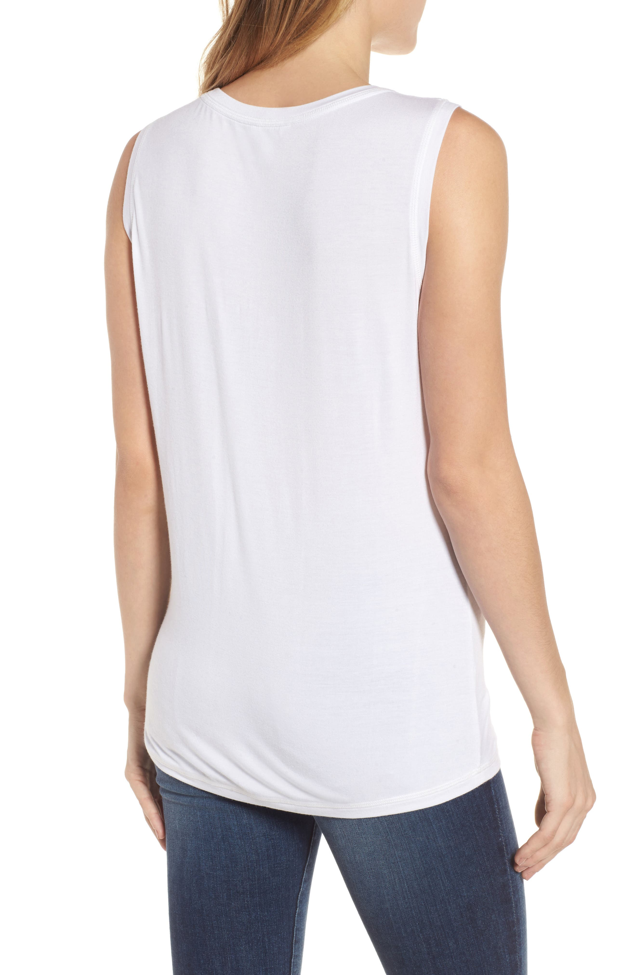 Off-Duty Shirred Sleeveless Tee,                             Alternate thumbnail 8, color,