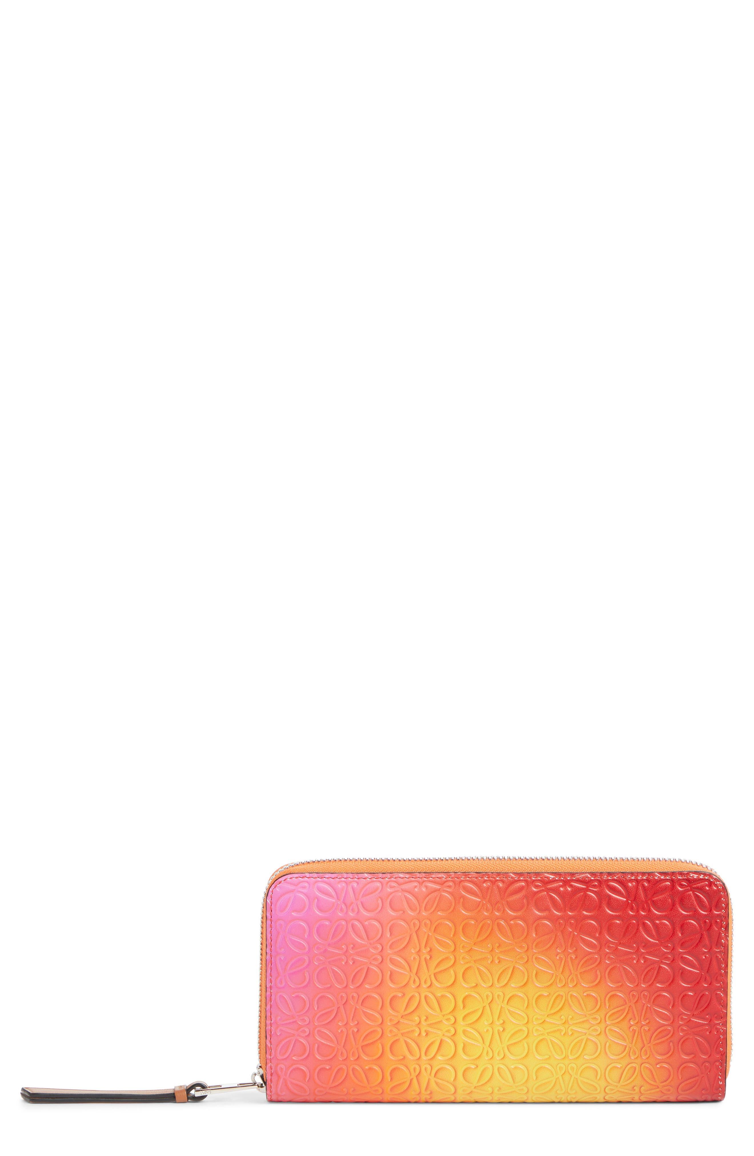 LOEWE Embossed Ombré Leather Zip Around Wallet, Main, color, ORANGE SUNSET