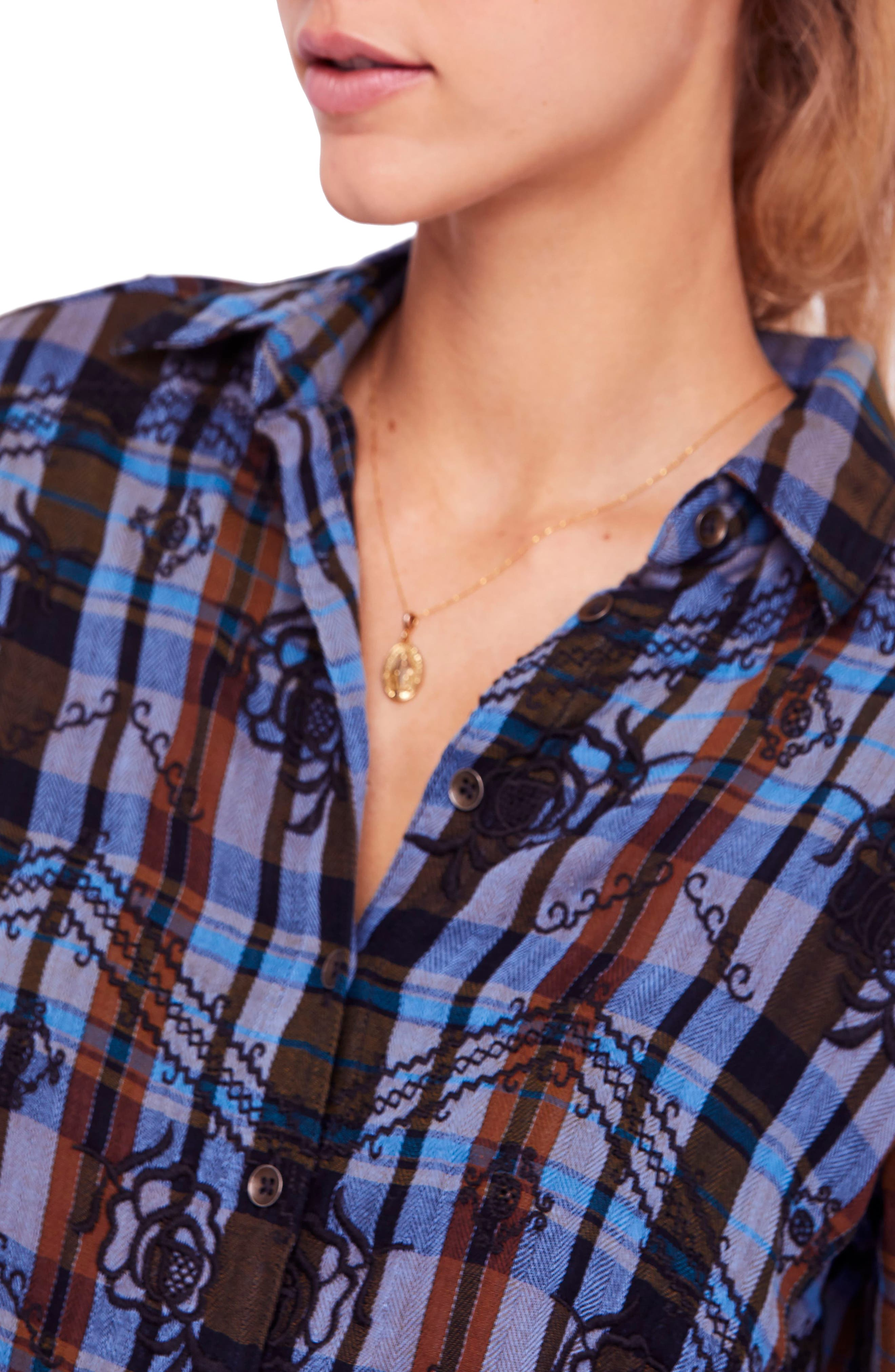 FREE PEOPLE,                             Magical Plaid Embroidered Shirt,                             Alternate thumbnail 4, color,                             001