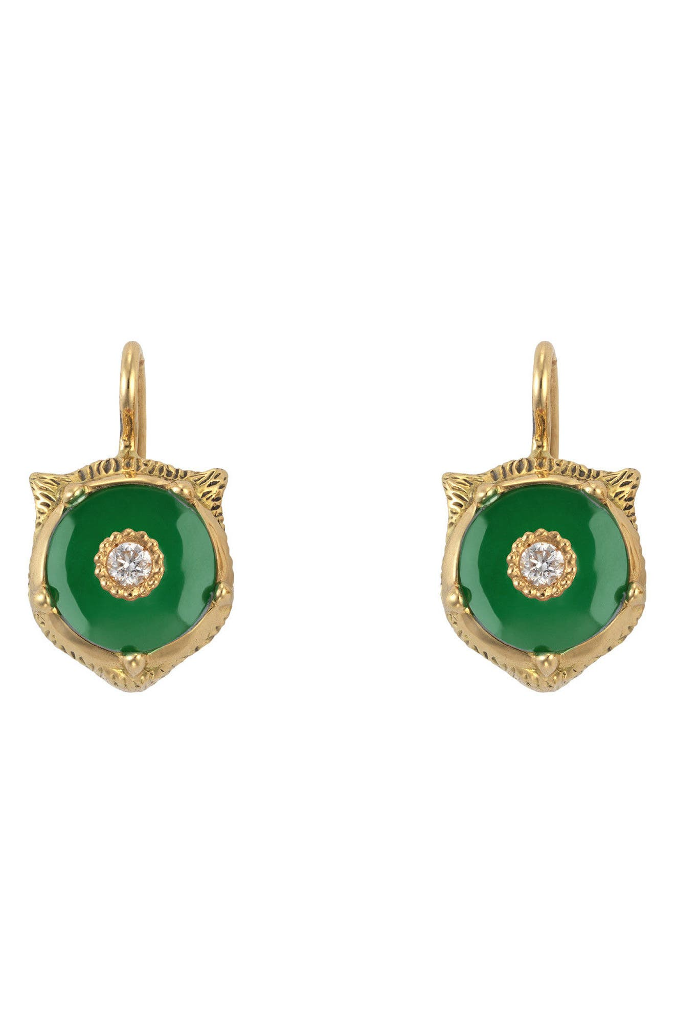 Feline Head Earrings,                             Main thumbnail 1, color,                             YELLOW GOLD/ GREEN JADE