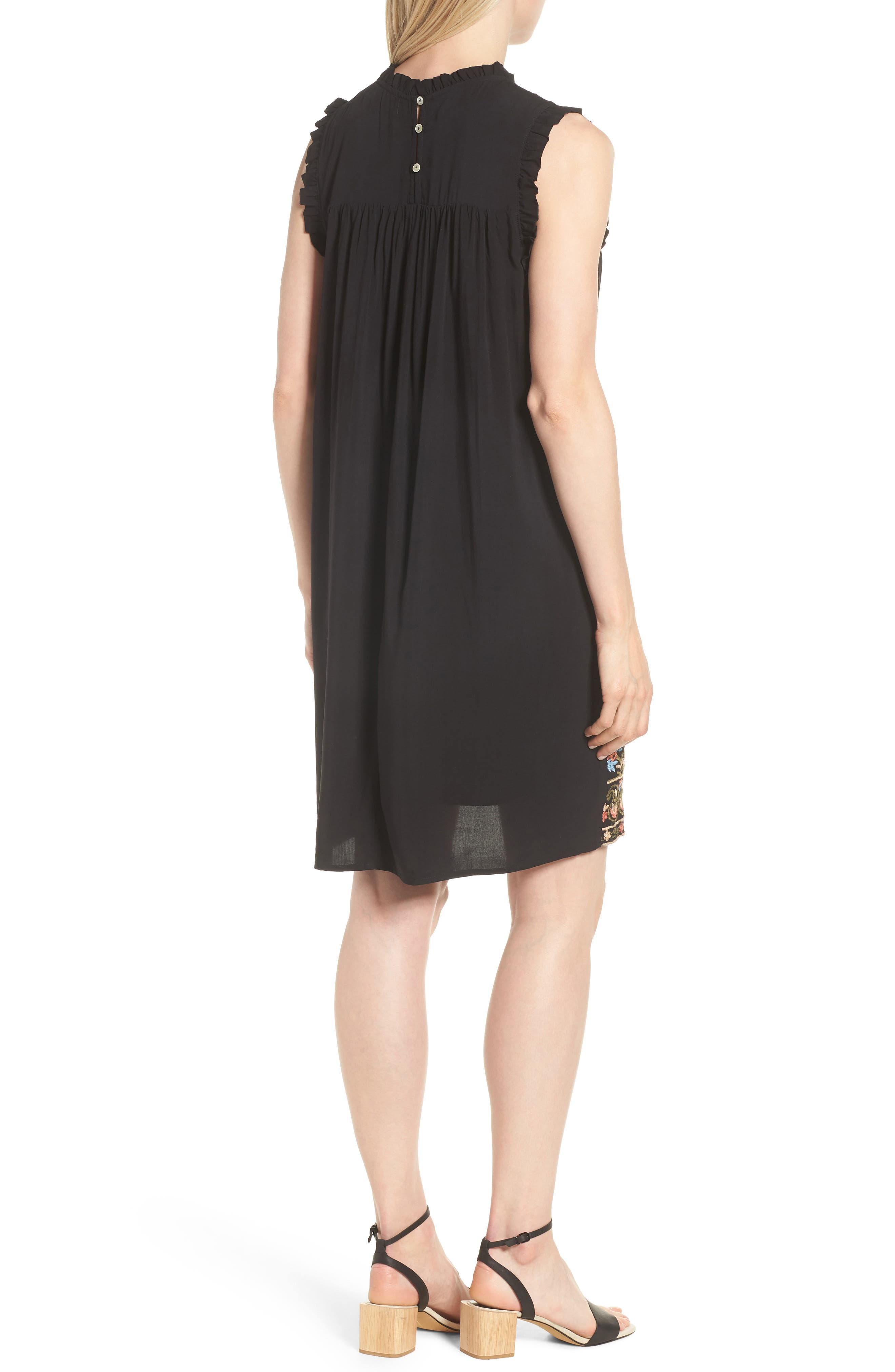 Pintuck Embroidered Shift Dress,                             Alternate thumbnail 2, color,                             001