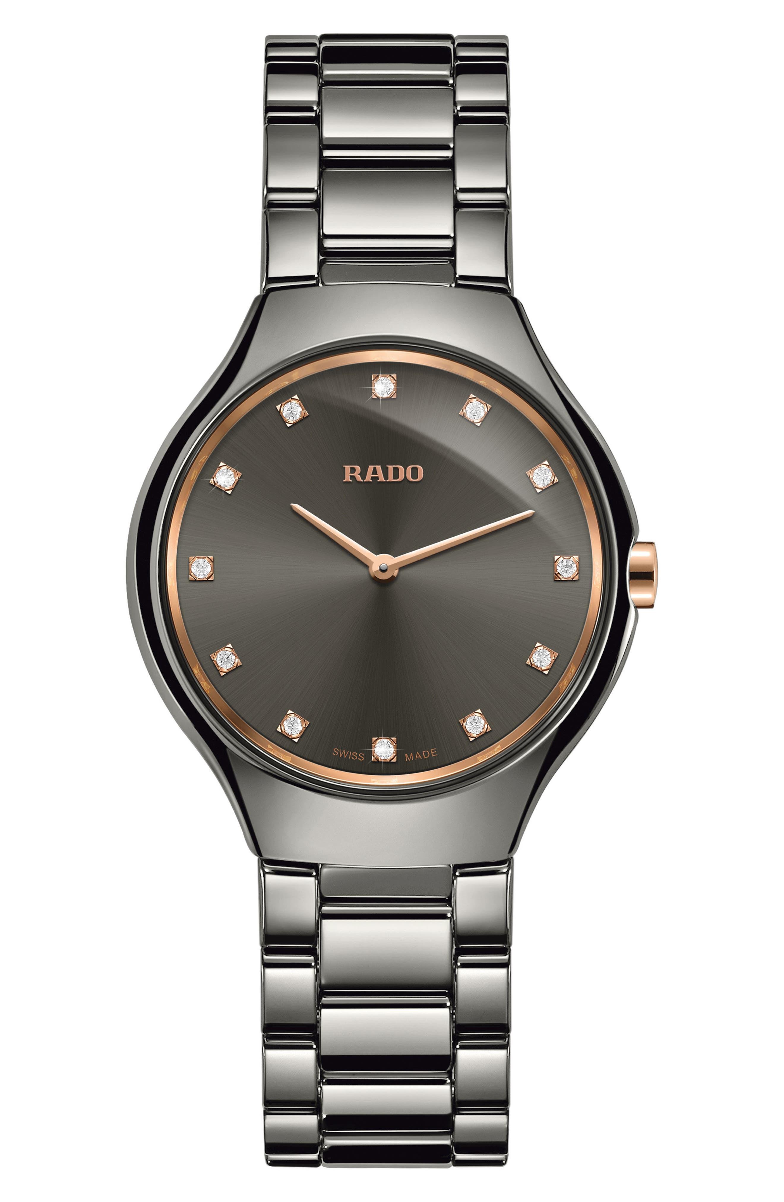 RADO True Thinline Diamond Ceramic Bracelet Watch, 30mm, Main, color, SILVER/ GREY/ SILVER