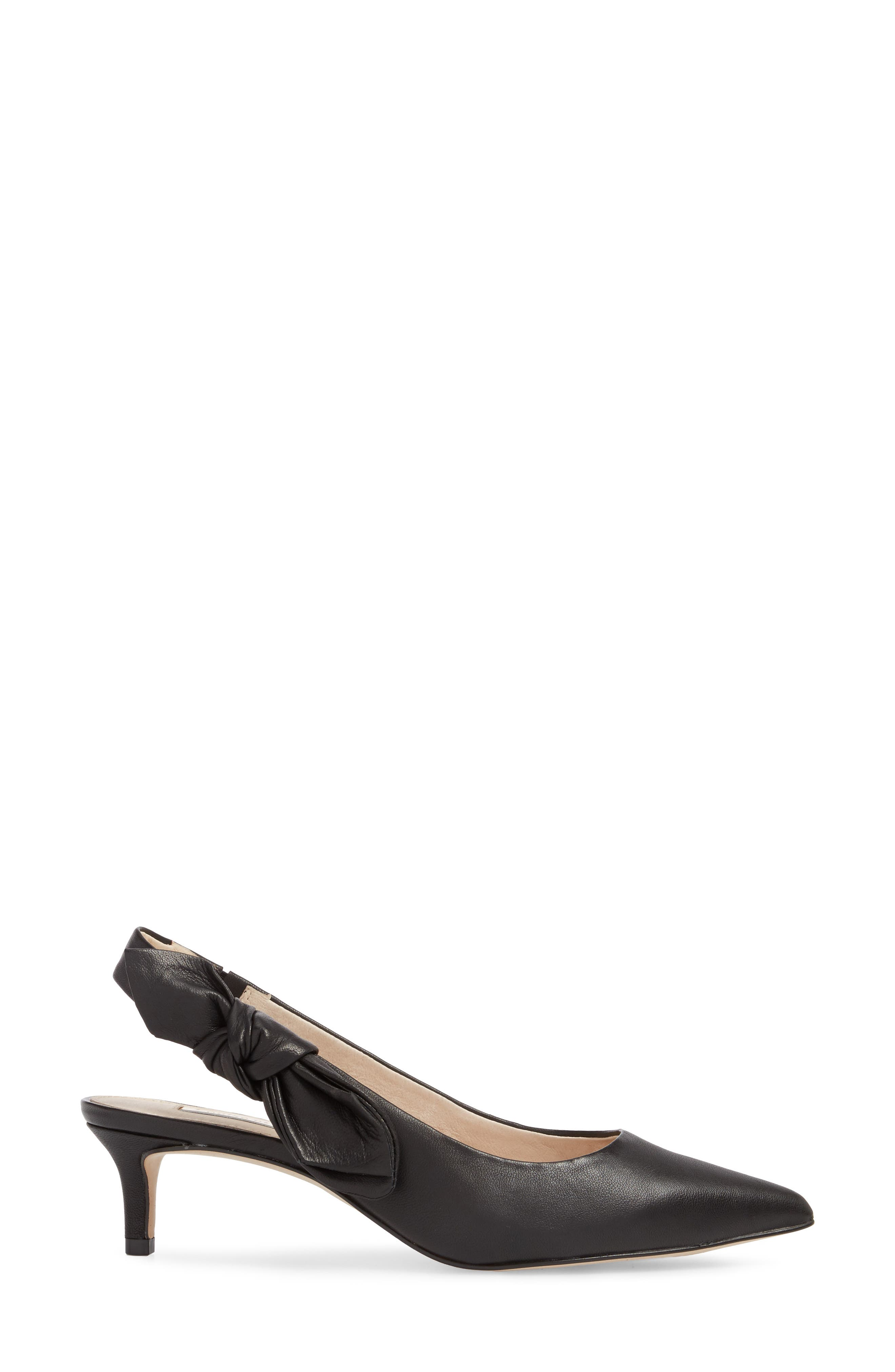 Jasilen Slingback Pump,                             Alternate thumbnail 3, color,                             BLACK LEATHER