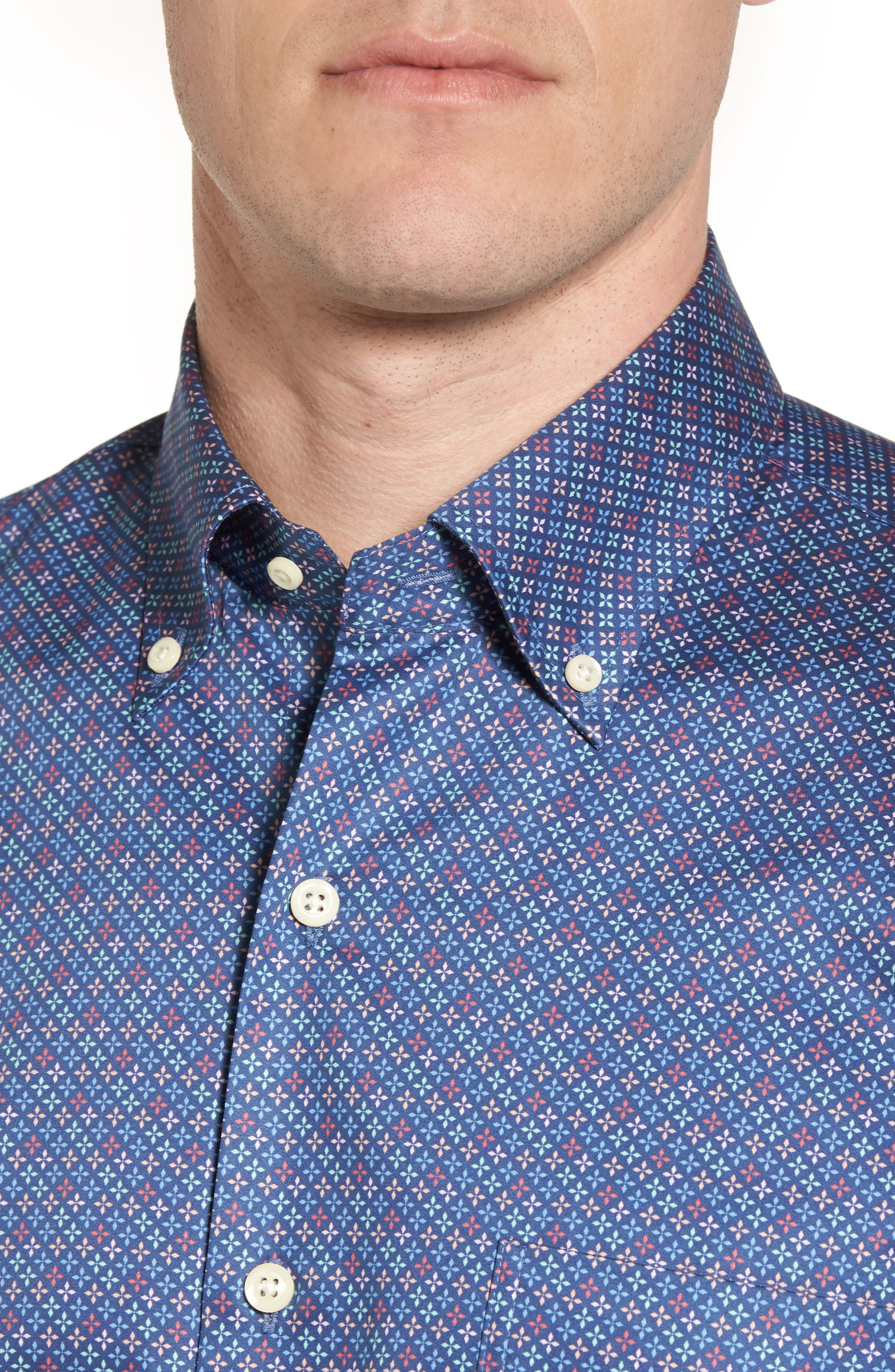 All Aces Regular Fit Sport Shirt,                             Alternate thumbnail 4, color,                             YANKEE BLUE