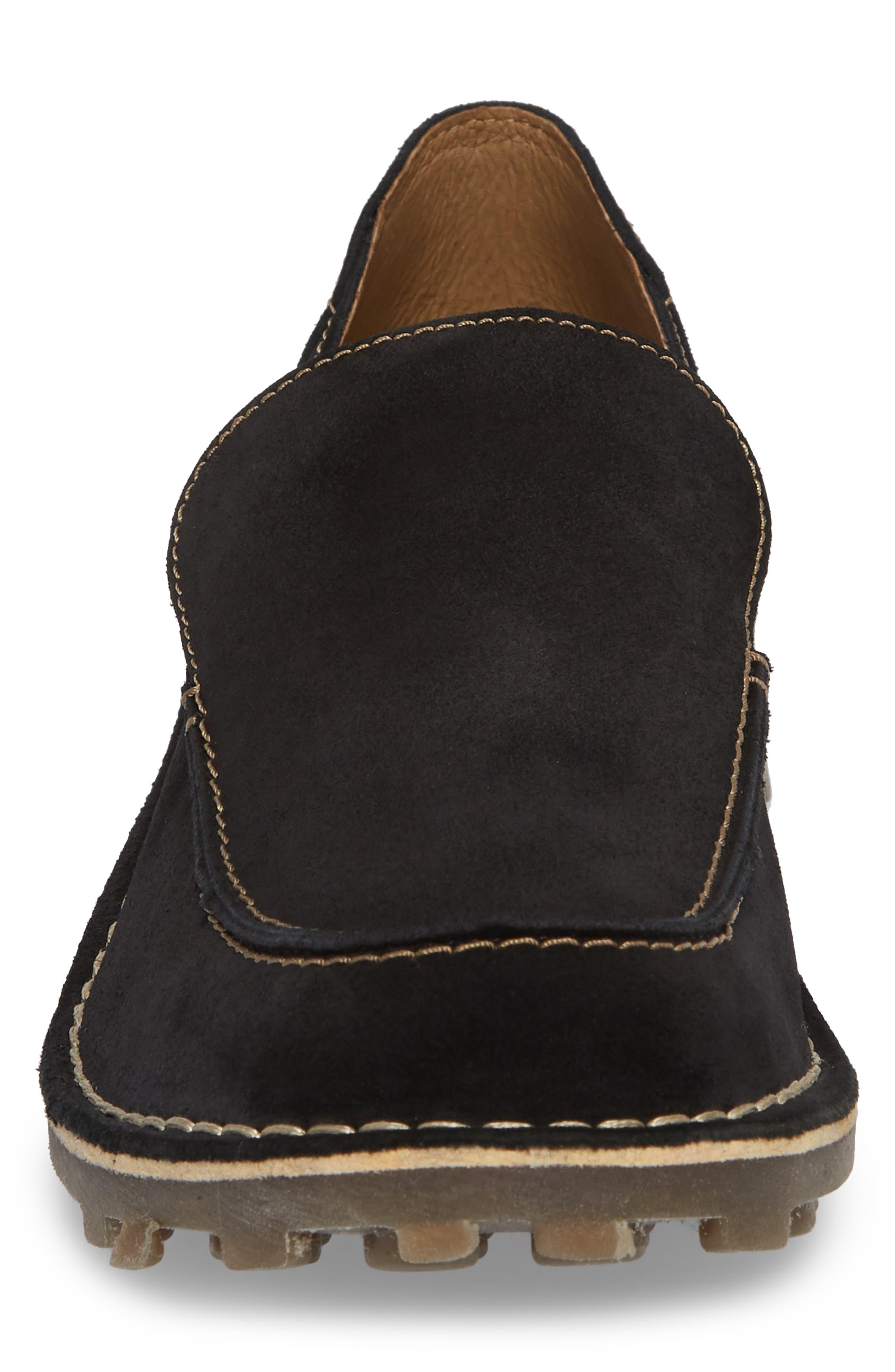 Meve Moc Toe Loafer,                             Alternate thumbnail 4, color,                             BLACK SUEDE