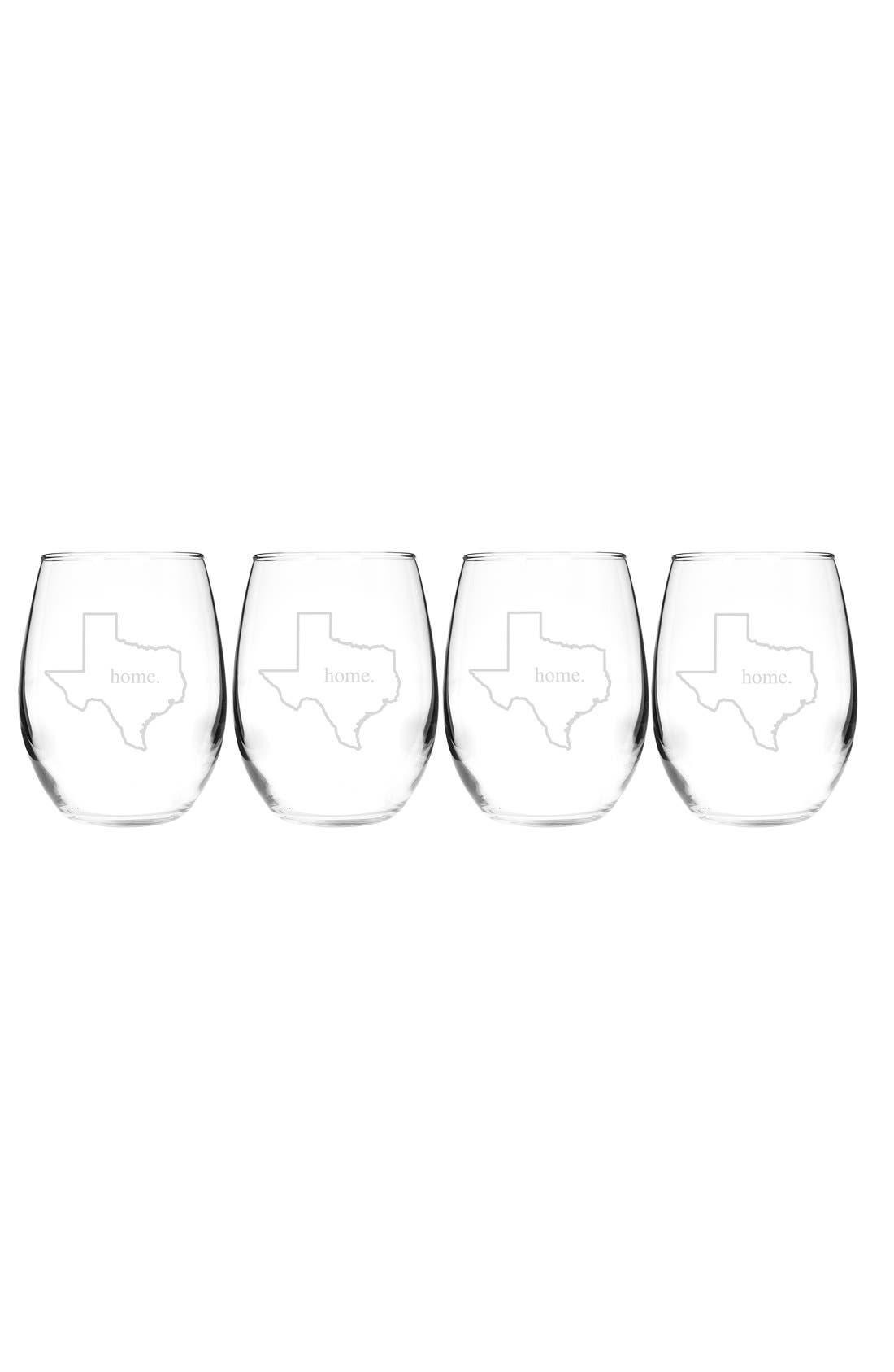 Home State Set of 4 Stemless Wine Glasses,                             Main thumbnail 44, color,