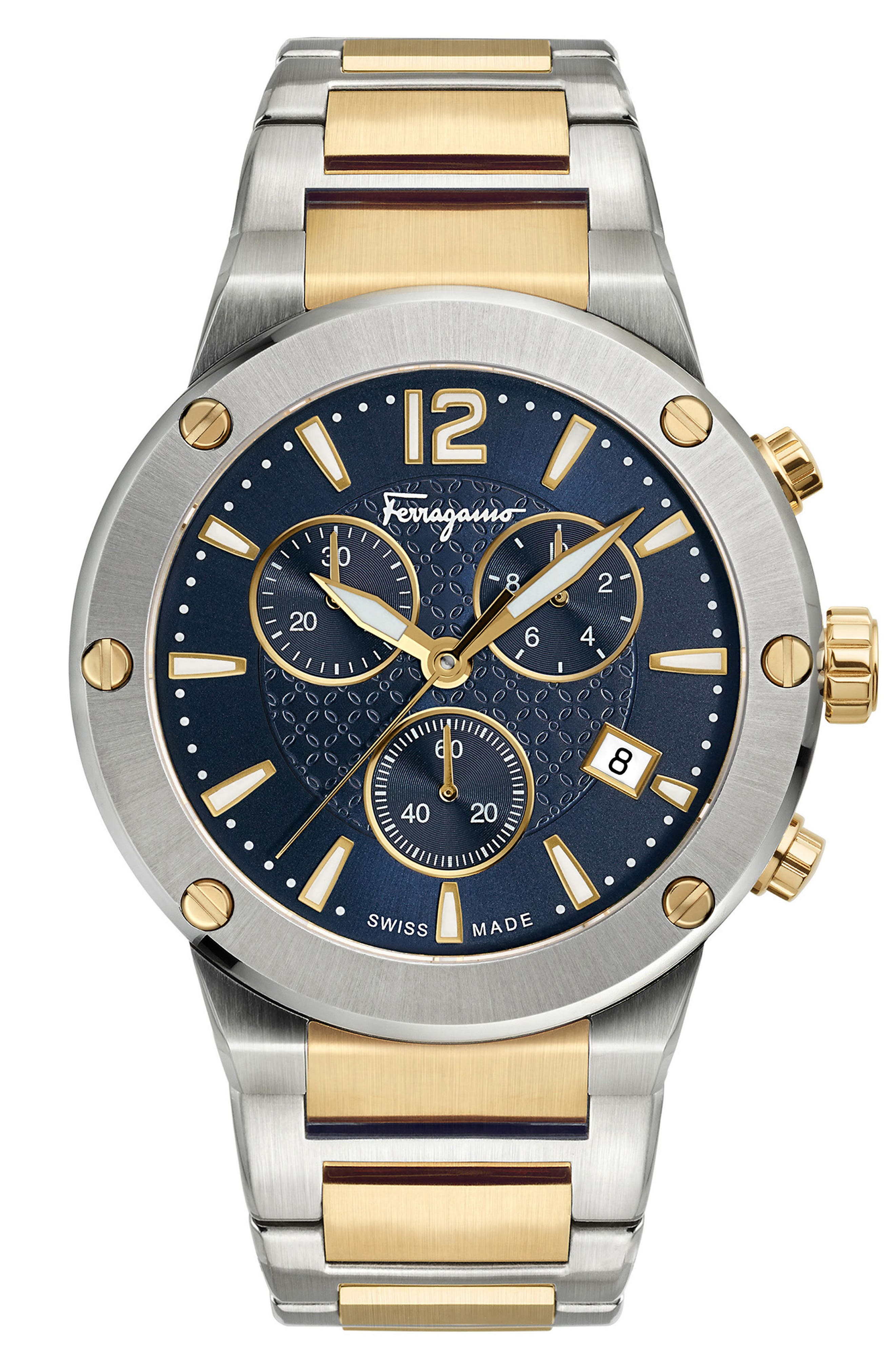 F-80 Chronograph Bracelet Watch, 44mm,                         Main,                         color, GOLD/ BLUE/ SILVER
