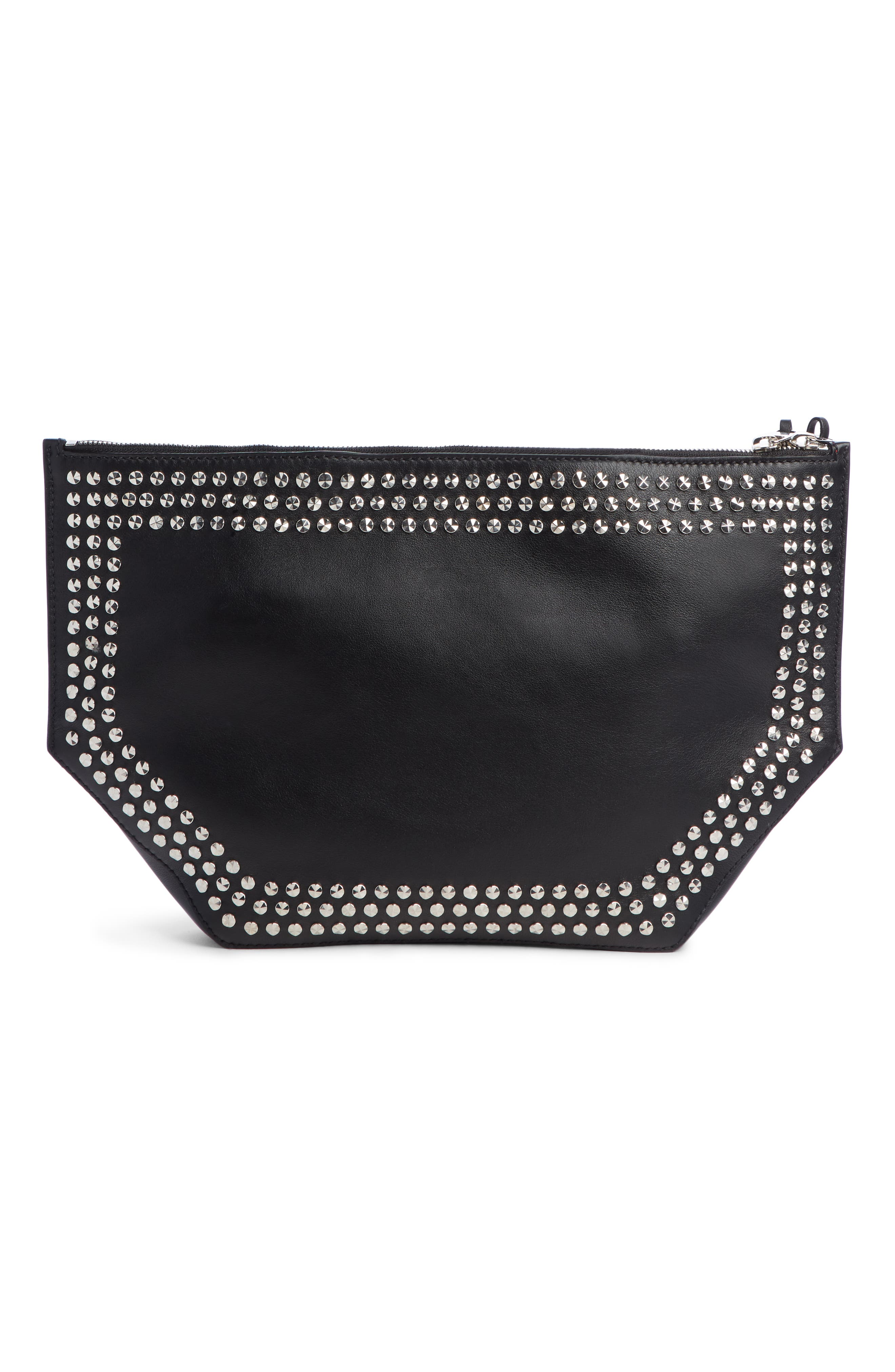 Studded Leather Butterfly Pouch,                             Alternate thumbnail 3, color,                             BLACK