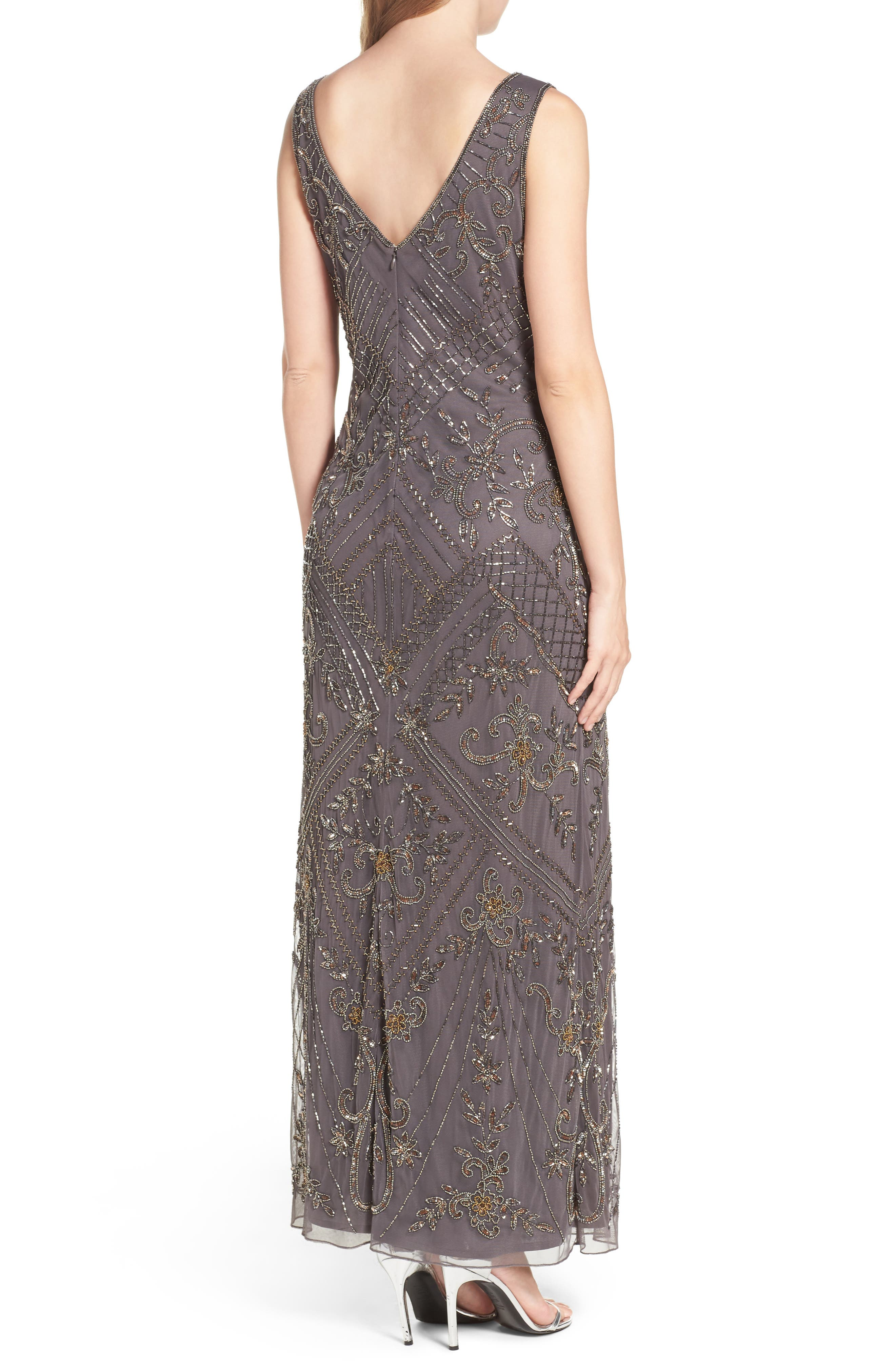 Embroidered Mesh Gown,                             Alternate thumbnail 4, color,