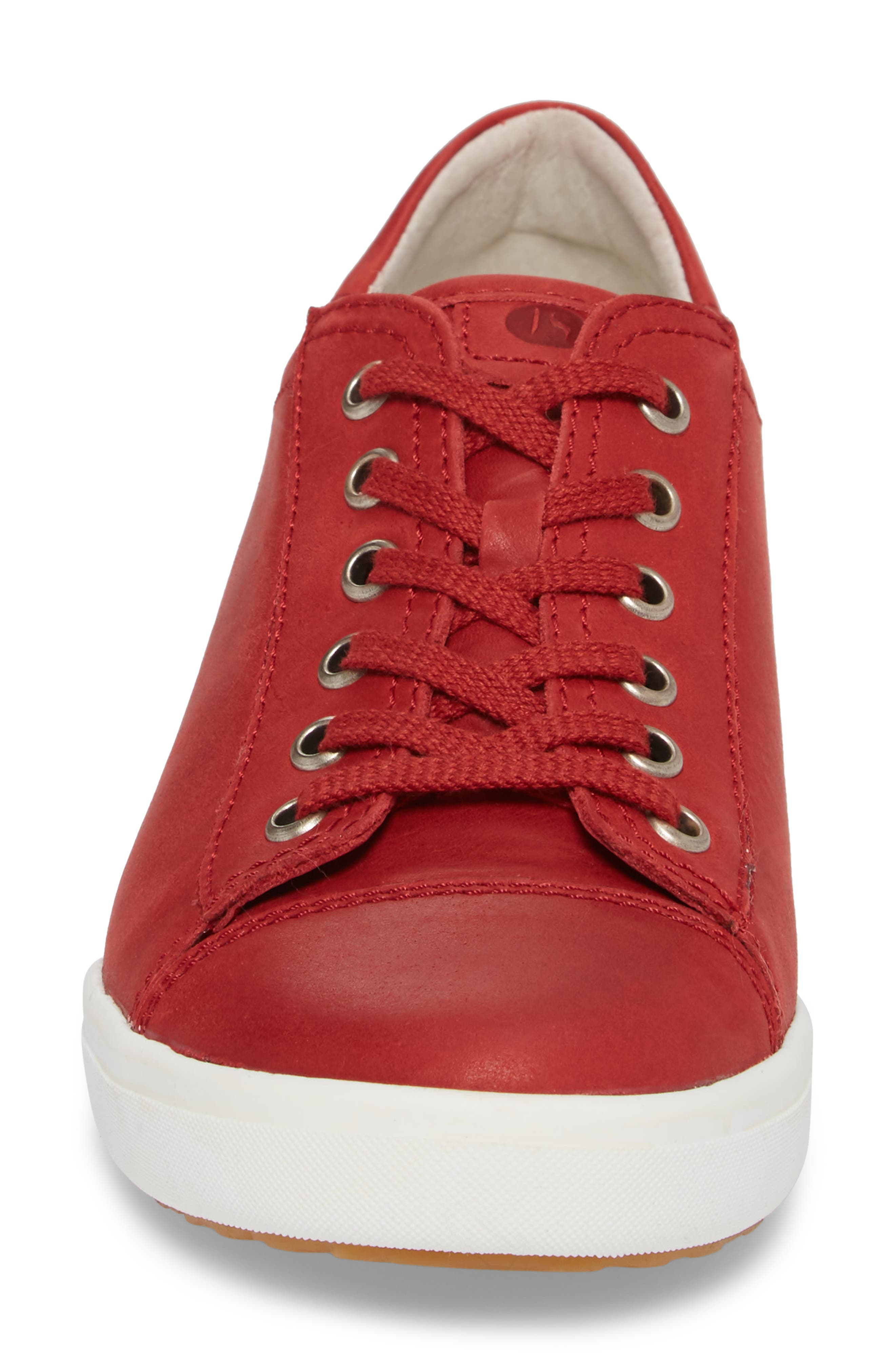 Sina 11 Sneaker,                             Alternate thumbnail 4, color,                             RED LEATHER 2