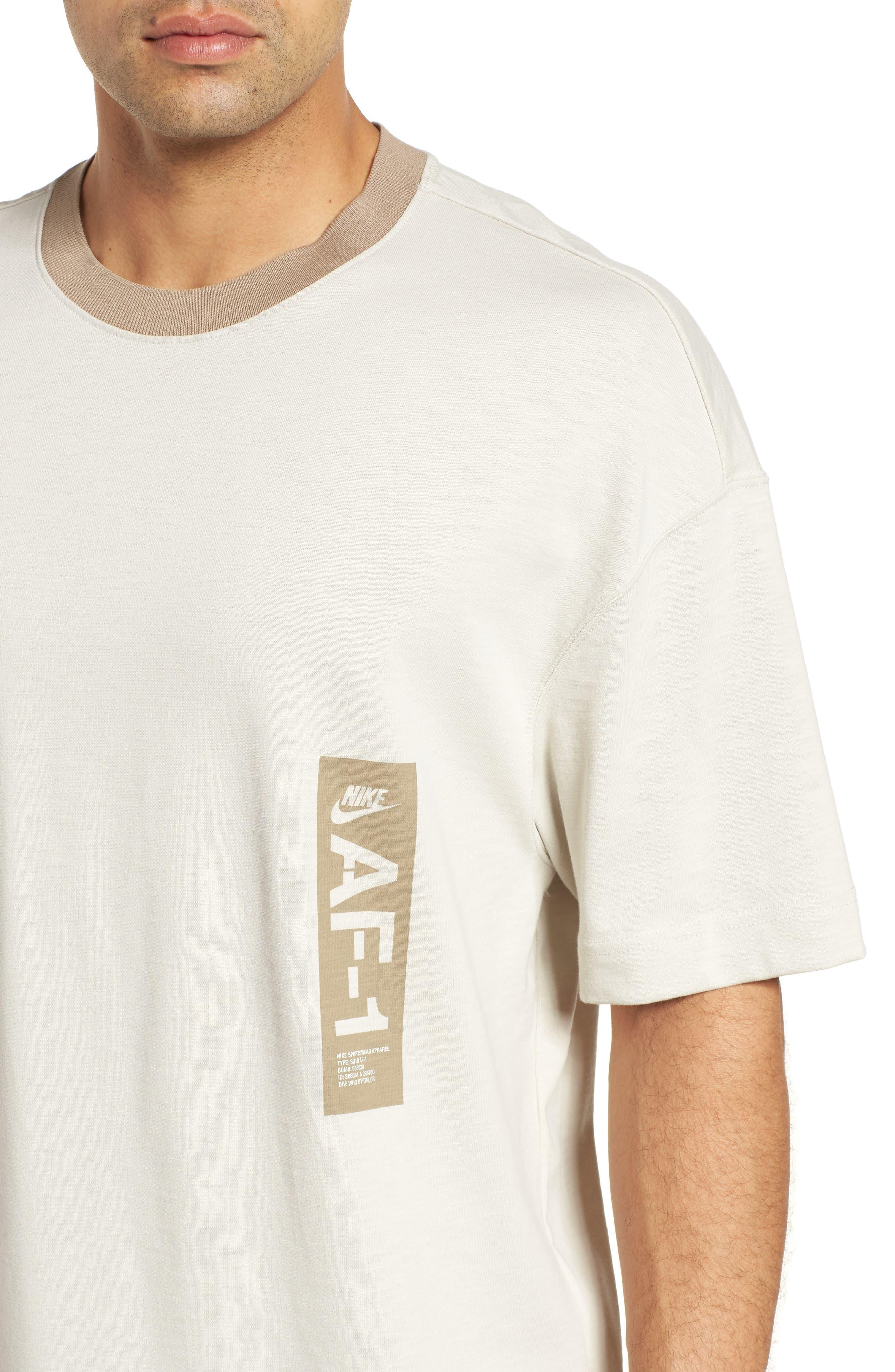 Sportswear AF1 Graphic T-Shirt,                             Alternate thumbnail 4, color,                             LIGHT BONE/ KHAKI
