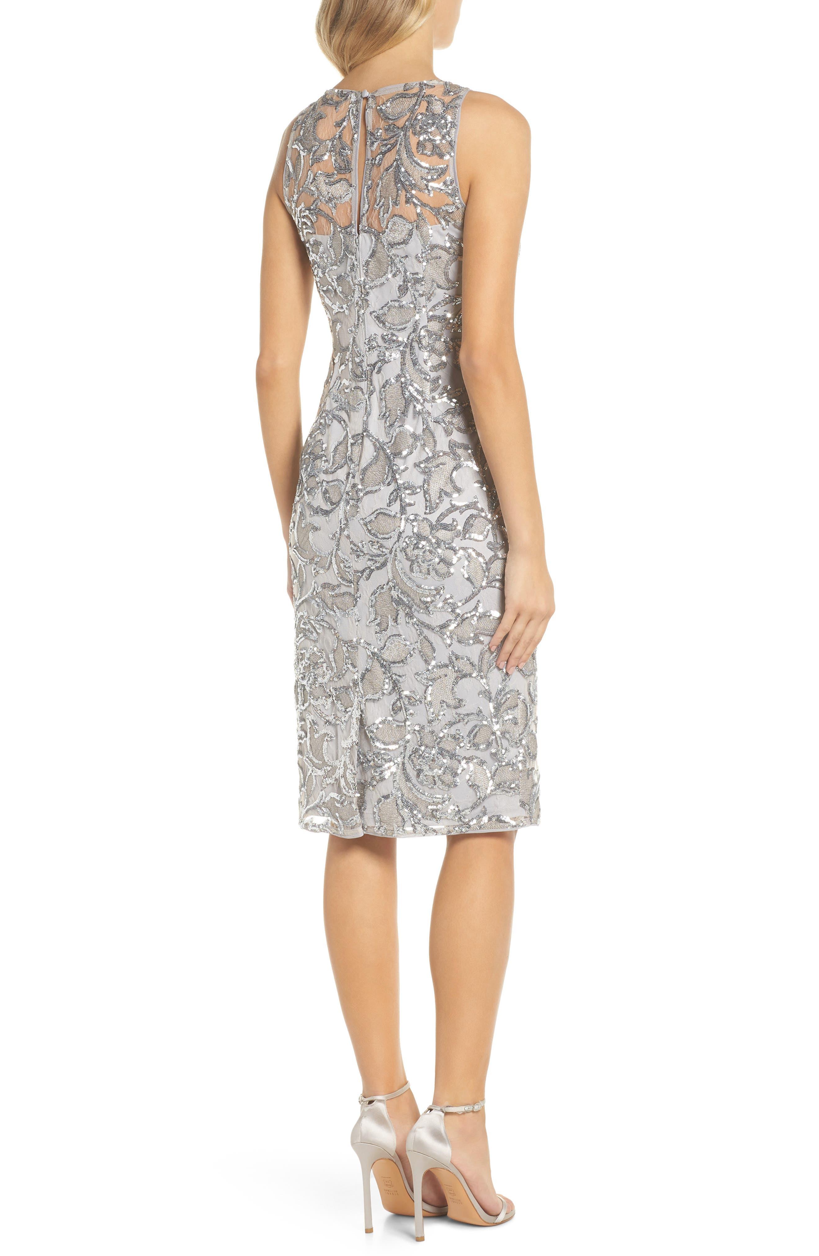 Floral Sequin Sheath Dress,                             Alternate thumbnail 2, color,                             SILVER