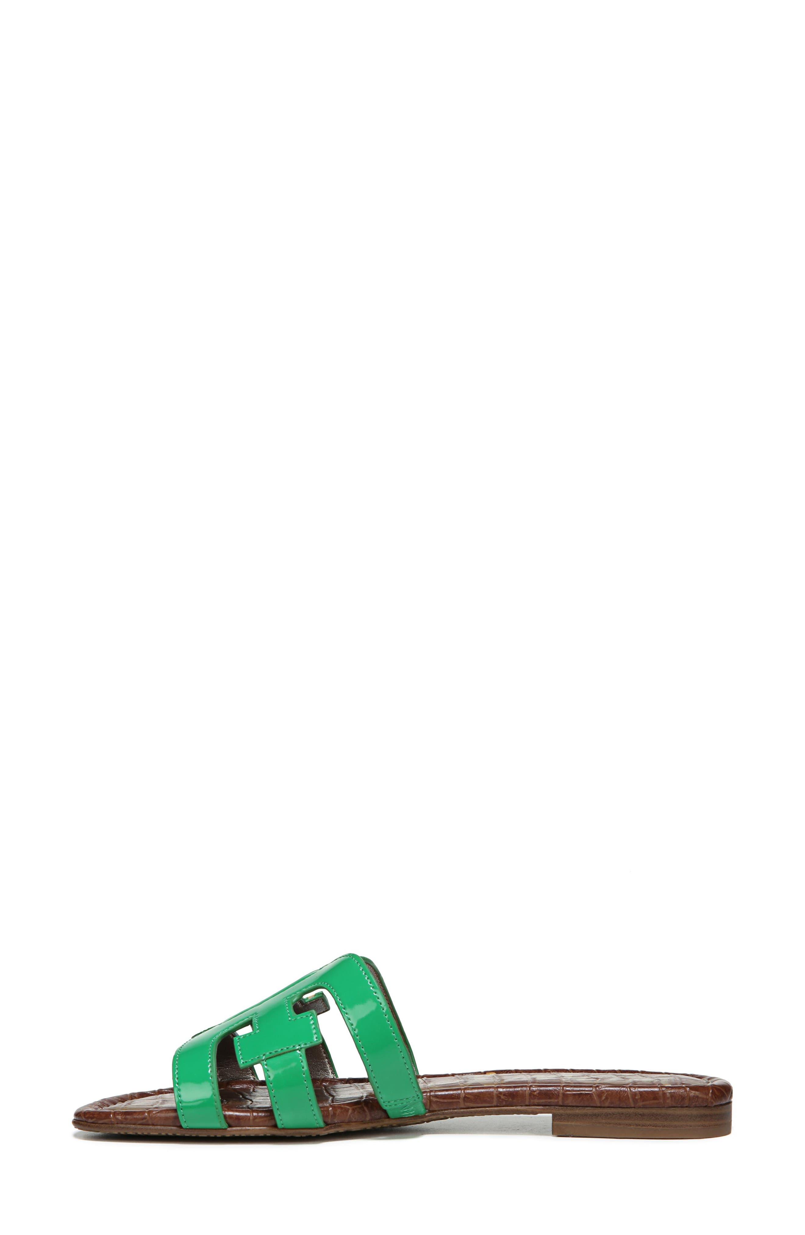 Bay Cutout Slide Sandal,                             Alternate thumbnail 3, color,                             LEAF GREEN PATENT LEATHER