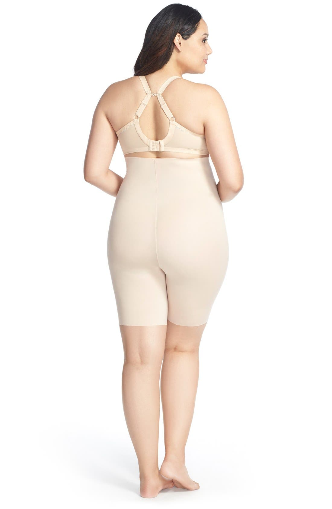 Thinstincts<sup>™</sup> High Waist Mid-Thigh Shorts,                             Alternate thumbnail 3, color,                             SOFT NUDE