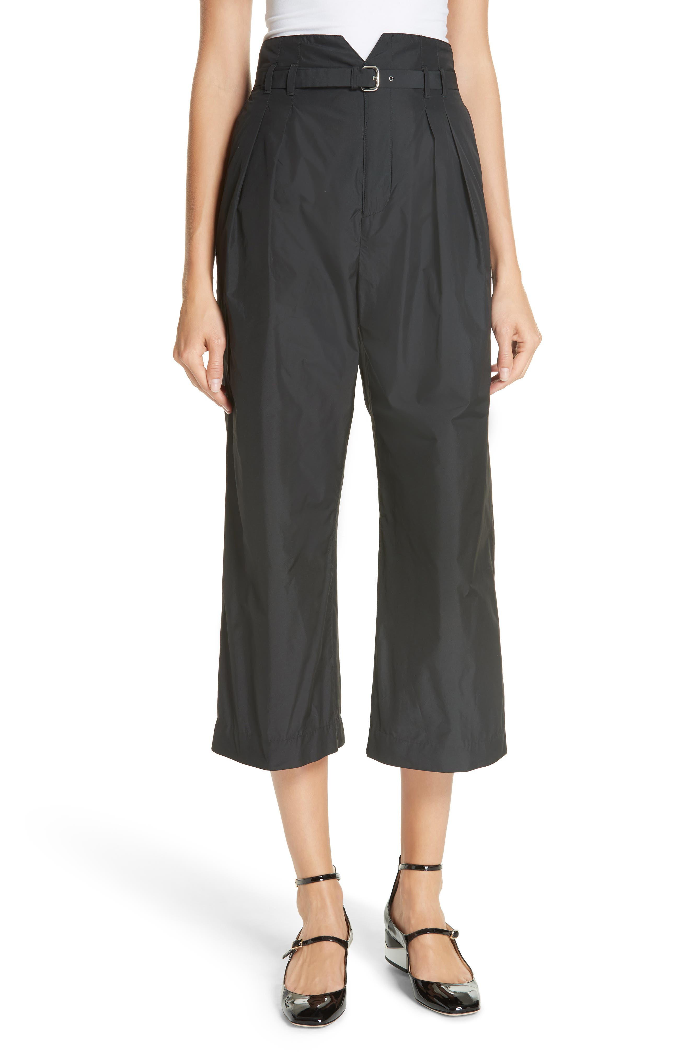 Belted Pleat Front Pants,                         Main,                         color, BLACK
