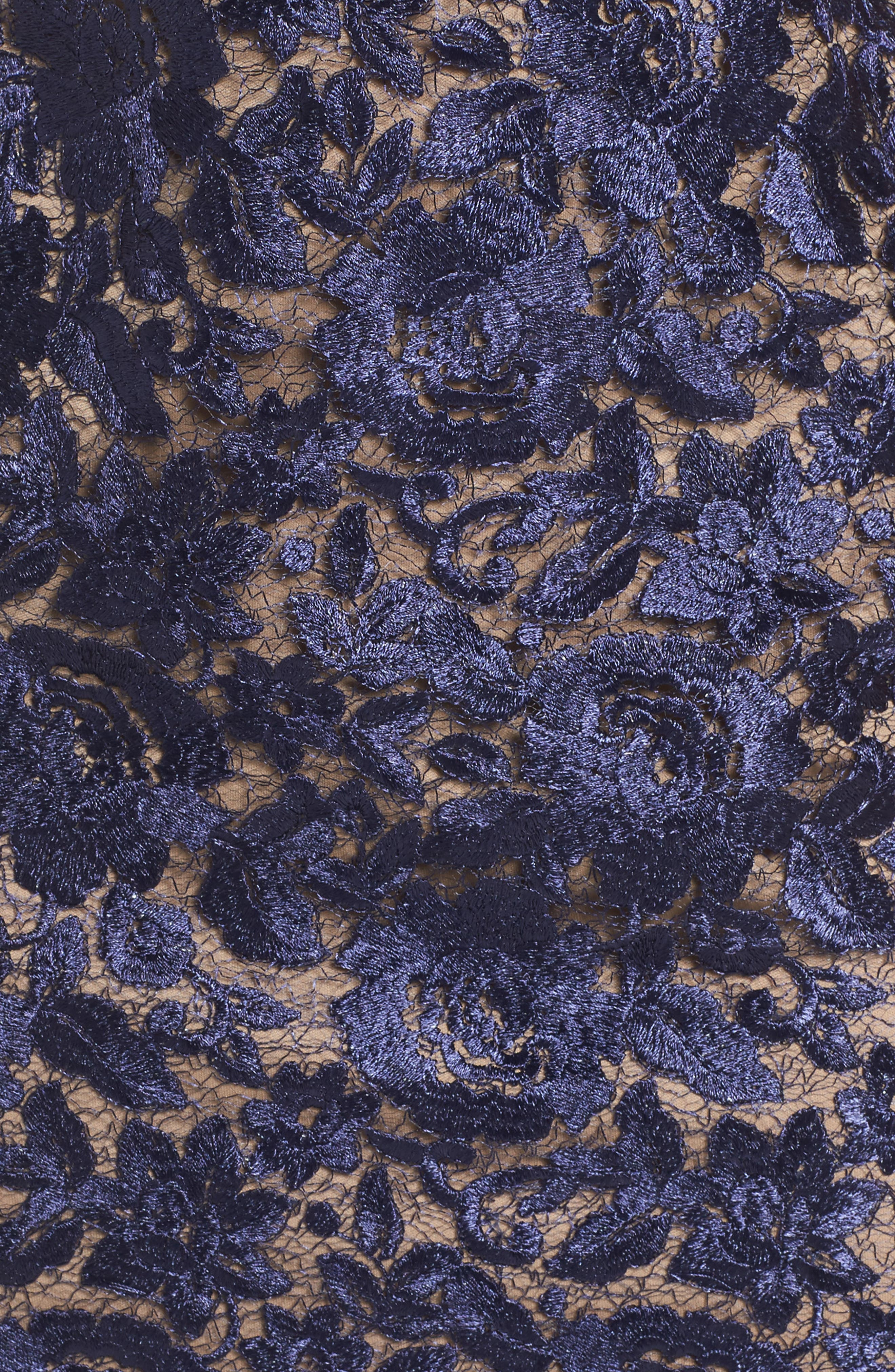 Illusion Lace Sheath Dress,                             Alternate thumbnail 5, color,                             001