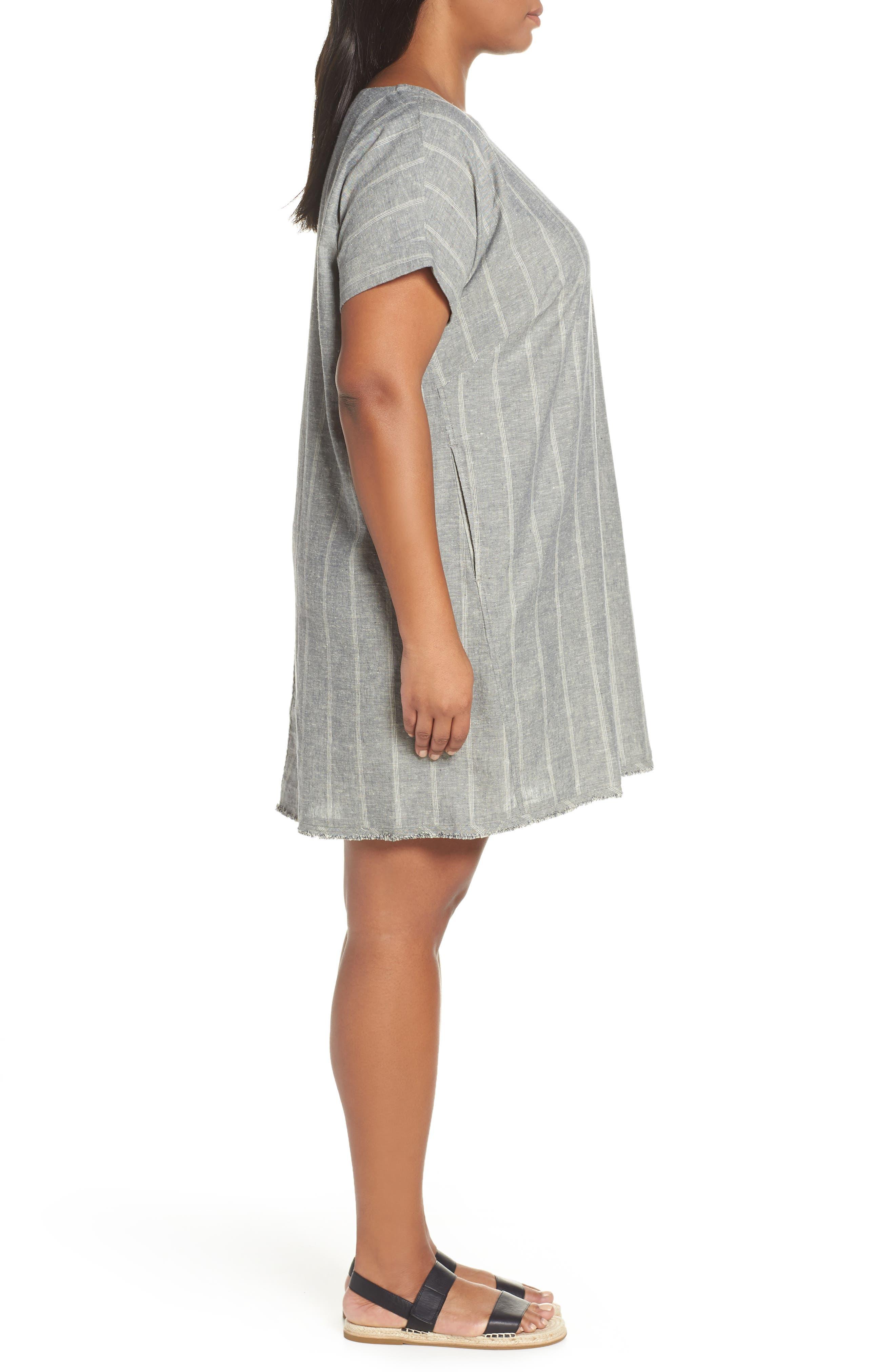 EILEEN FISHER,                             Stripe Hemp & Organic Cotton Shift Dress,                             Alternate thumbnail 4, color,                             MOON