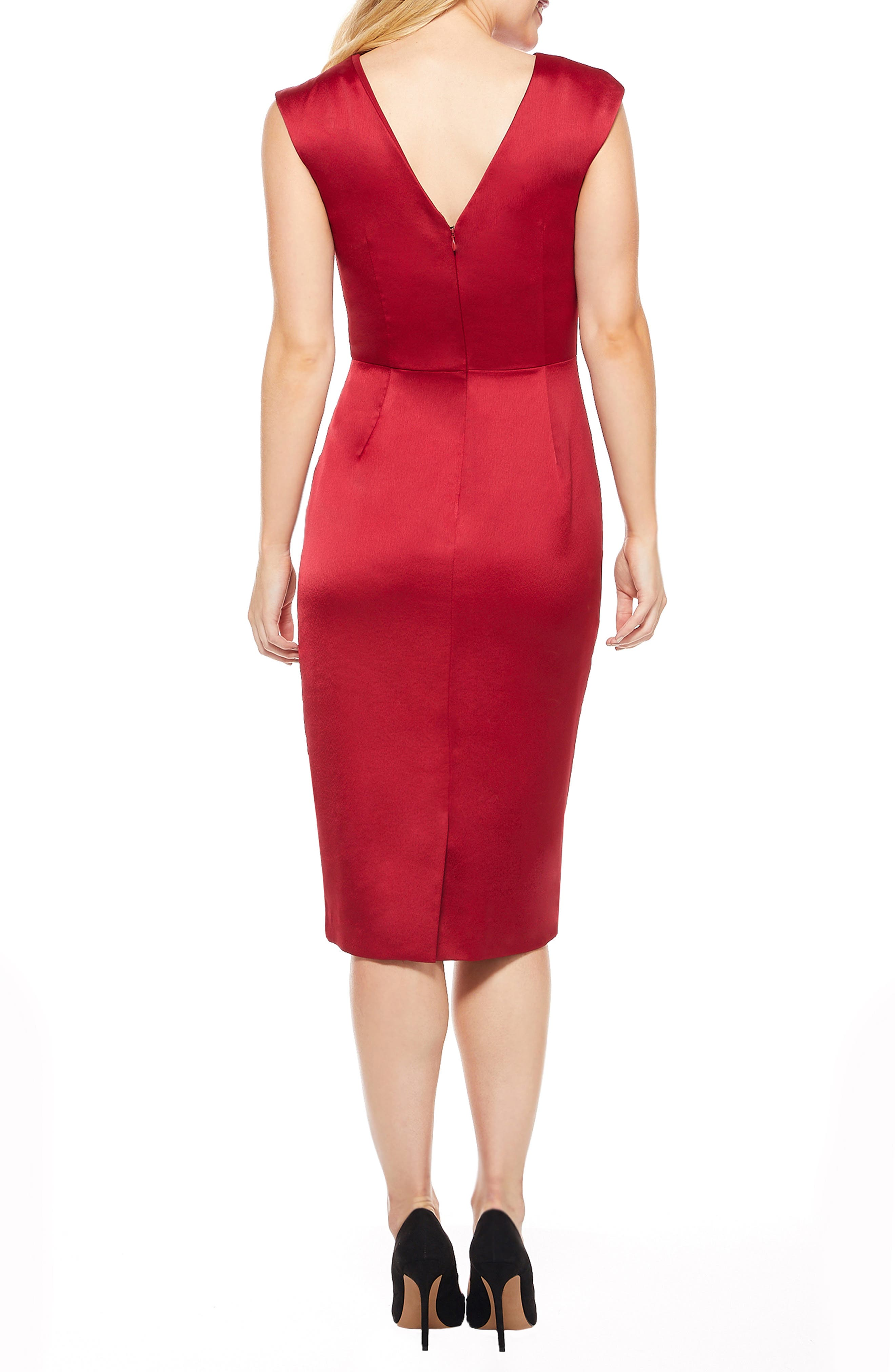 MAGGY LONDON,                             Crossover Bodice Satin Midi Dress,                             Alternate thumbnail 2, color,                             MAJESTIC SCARLET